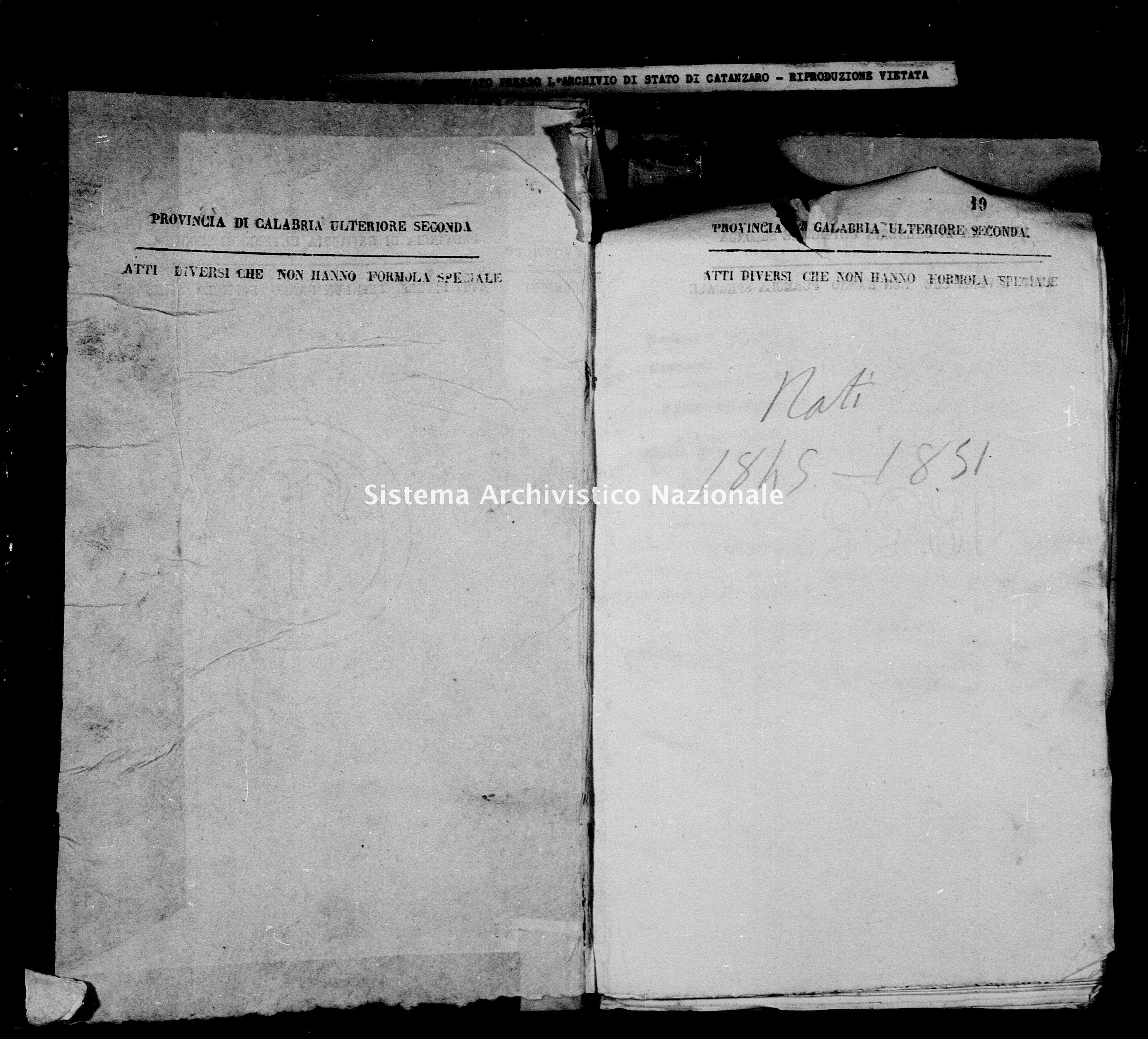 Archivio di stato di Catanzaro - Stato civile della restaurazione - Bella - Nati - 1845 -