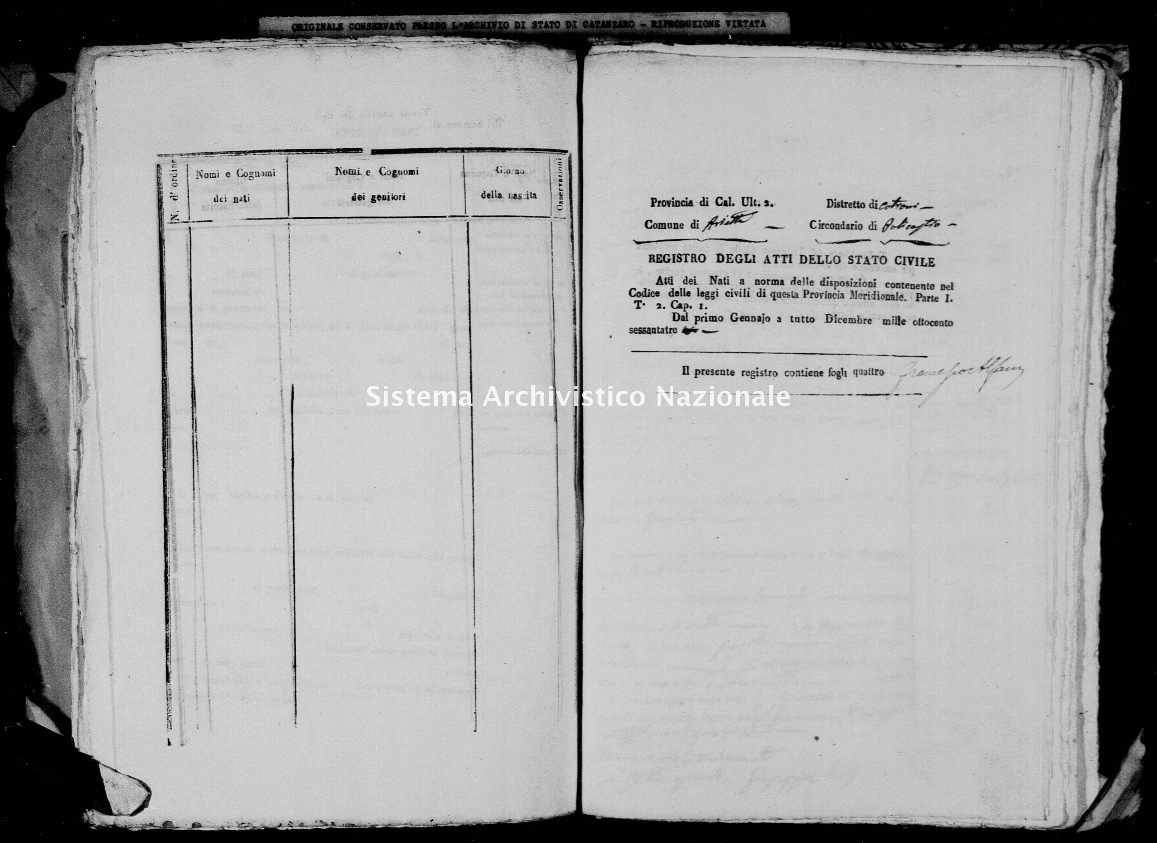 Archivio di stato di Catanzaro - Stato civile italiano - Arietta - Nati - 1863 -