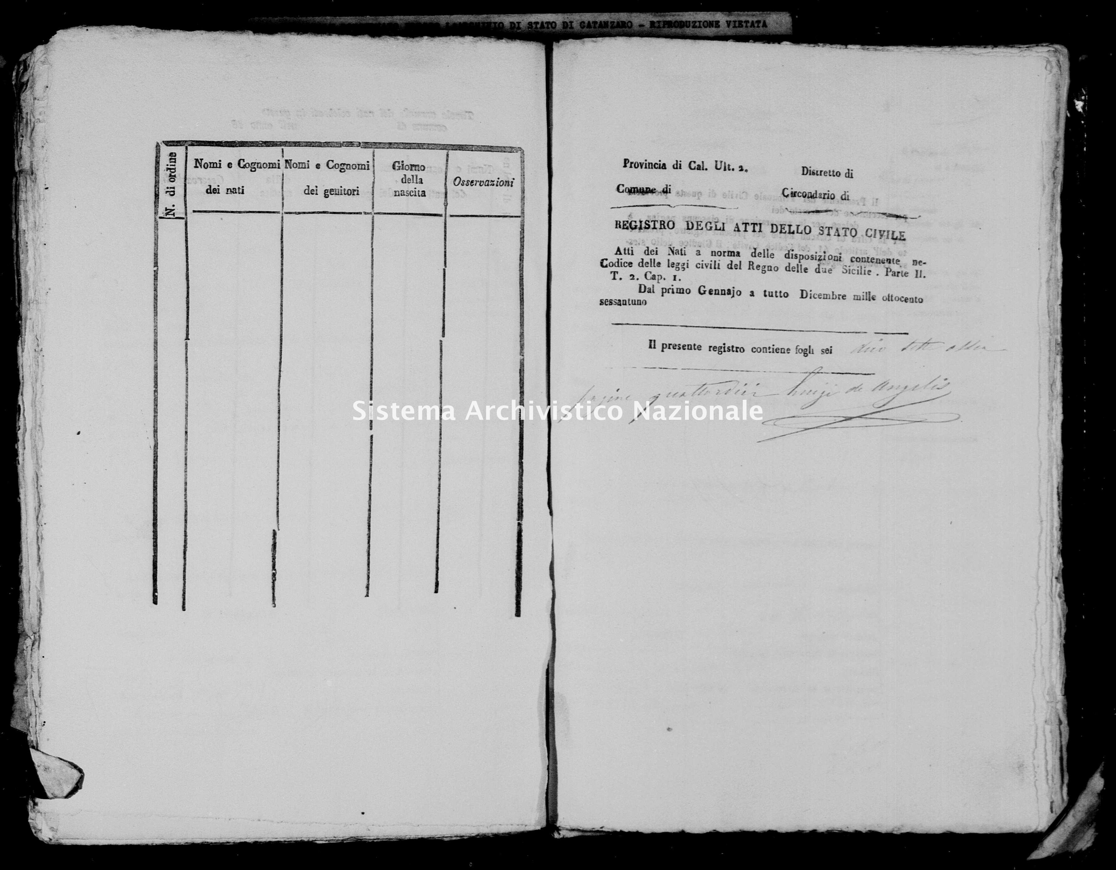 Archivio di stato di Catanzaro - Stato civile italiano - Arzona - Nati - 1861 -