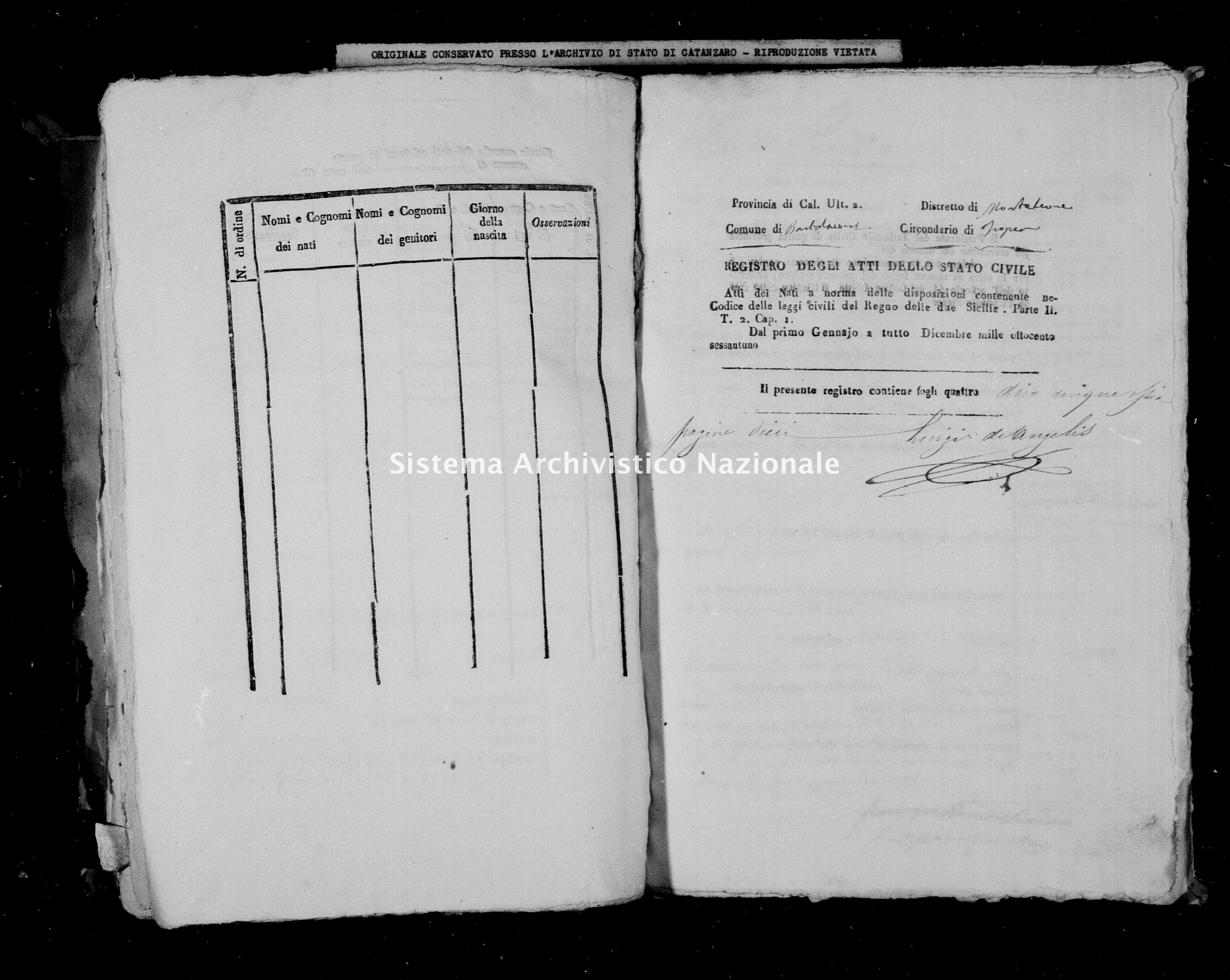 Archivio di stato di Catanzaro - Stato civile italiano - Barbalaconi - Nati - 1861 -