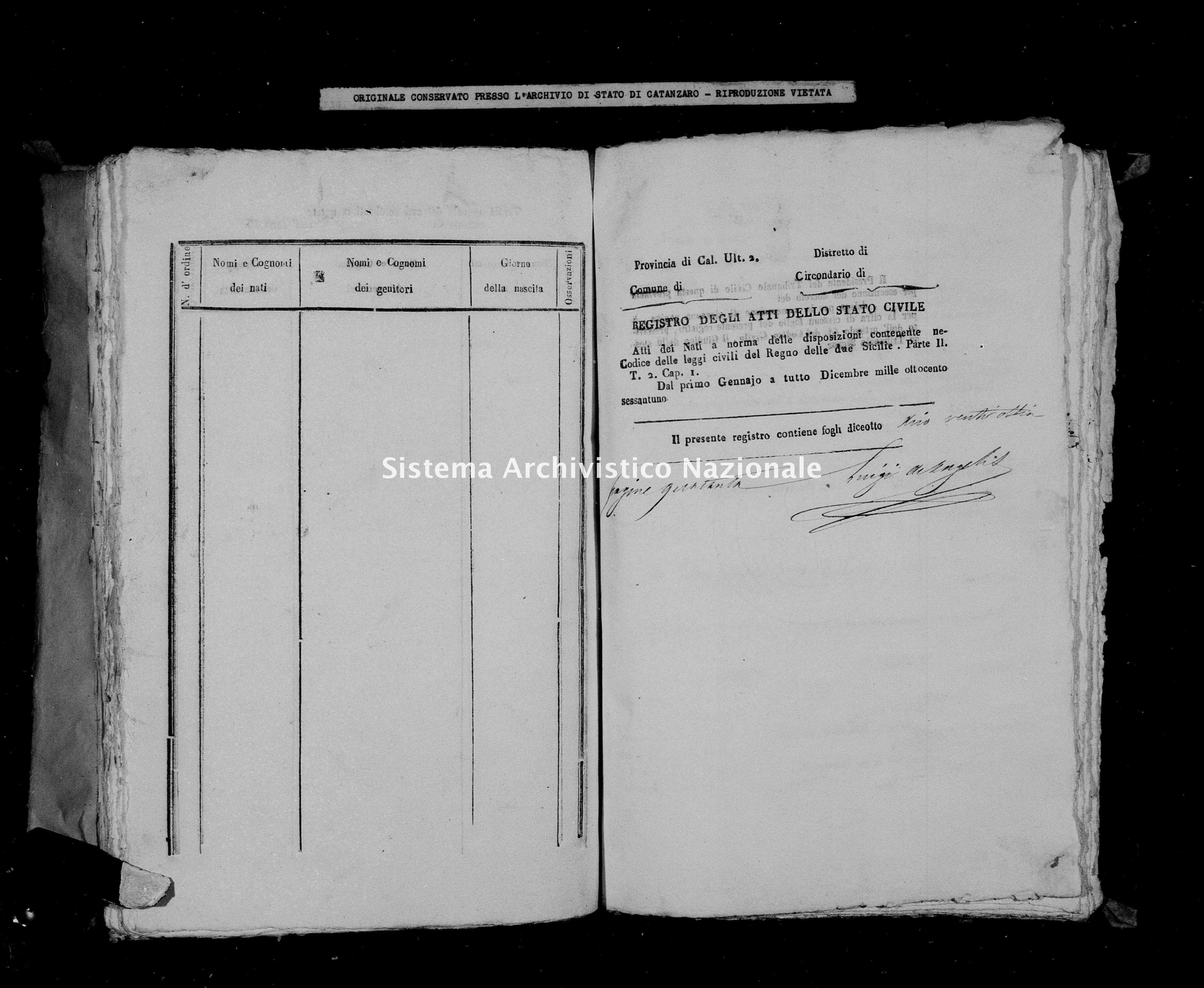 Archivio di stato di Catanzaro - Stato civile italiano - Brognaturo - Nati - 1861 -
