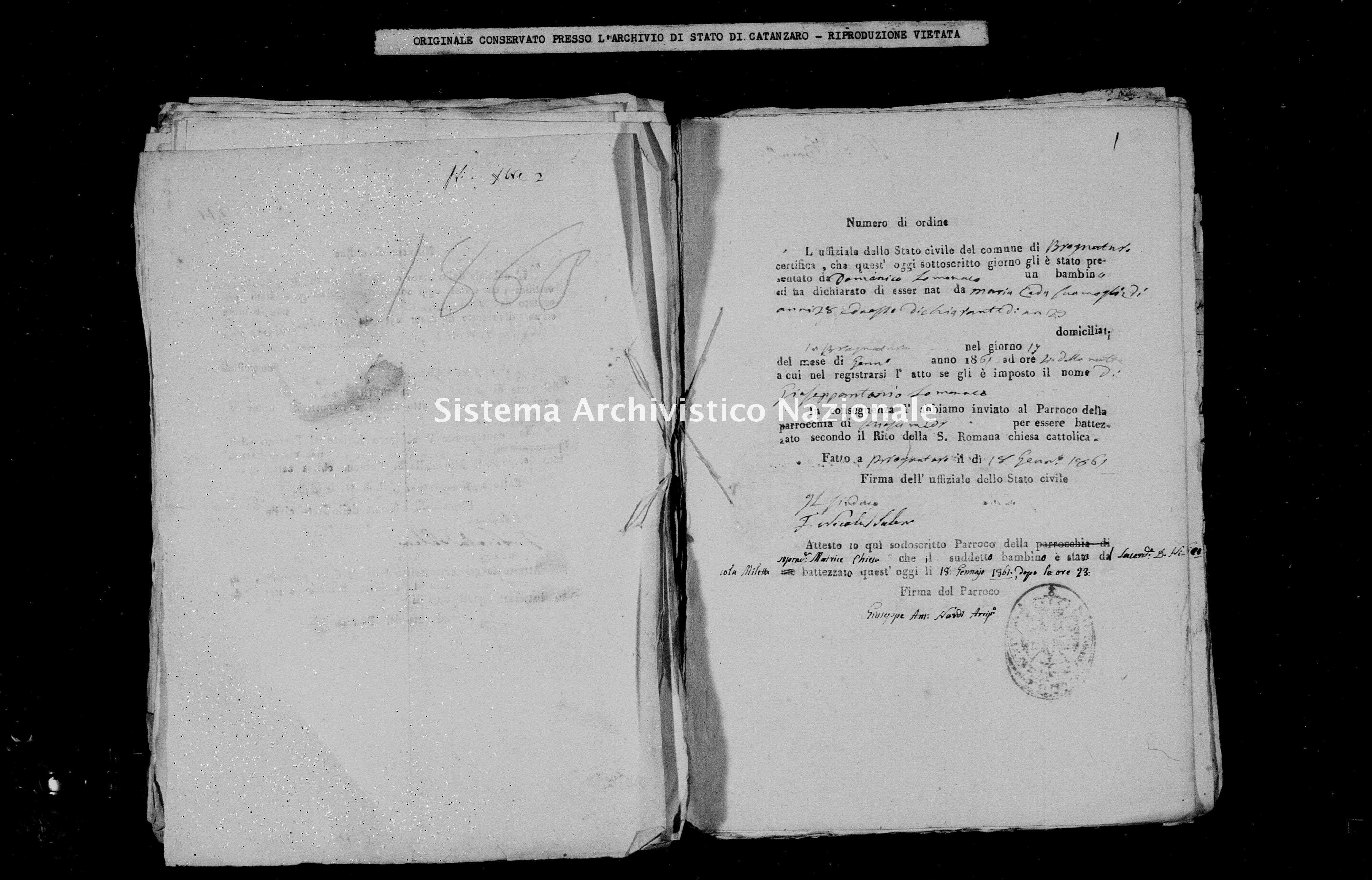 Archivio di stato di Catanzaro - Stato civile italiano - Brognaturo - Nati, battesimi - 1861 -