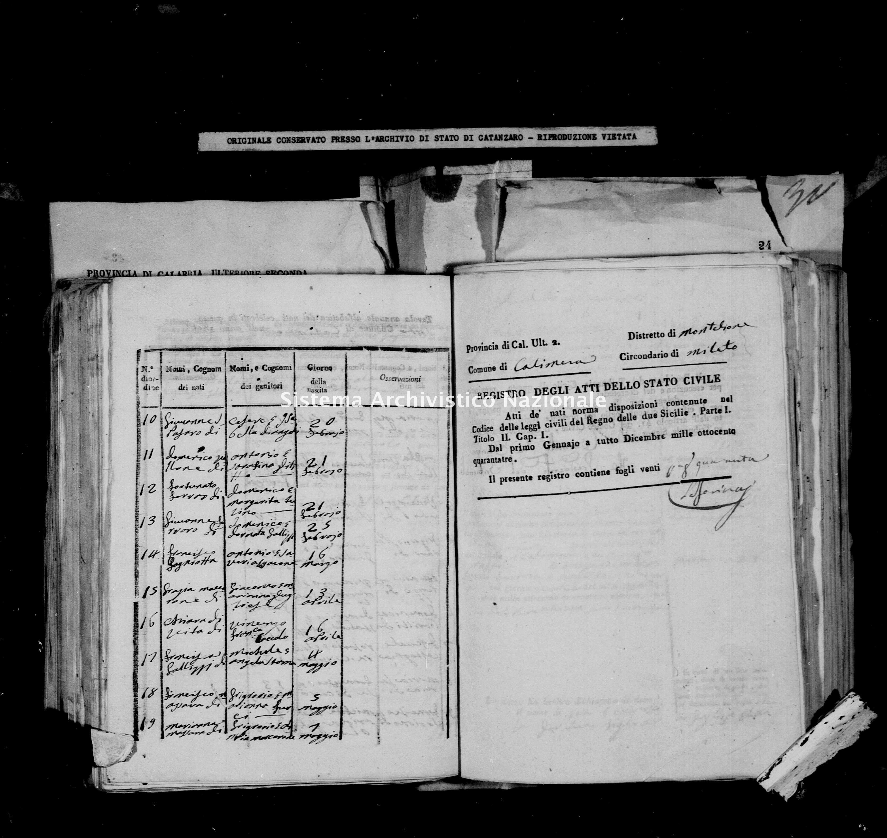 Archivio di stato di Catanzaro - Stato civile italiano - Calimera - Nati - 22/08/1843-26/12/1843 -