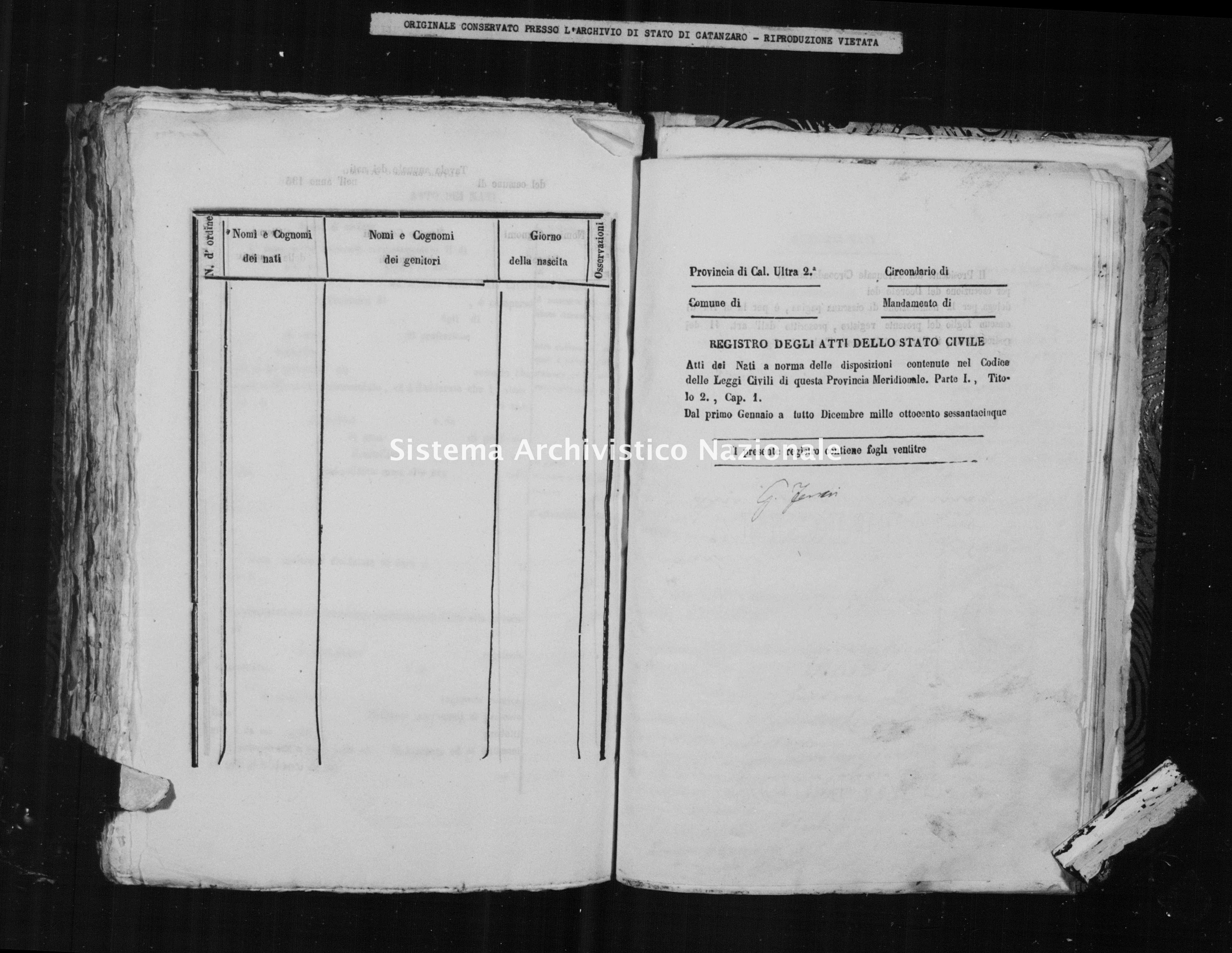 Archivio di stato di Catanzaro - Stato civile italiano - Caraffa di Catanzaro - Nati - 1865 -