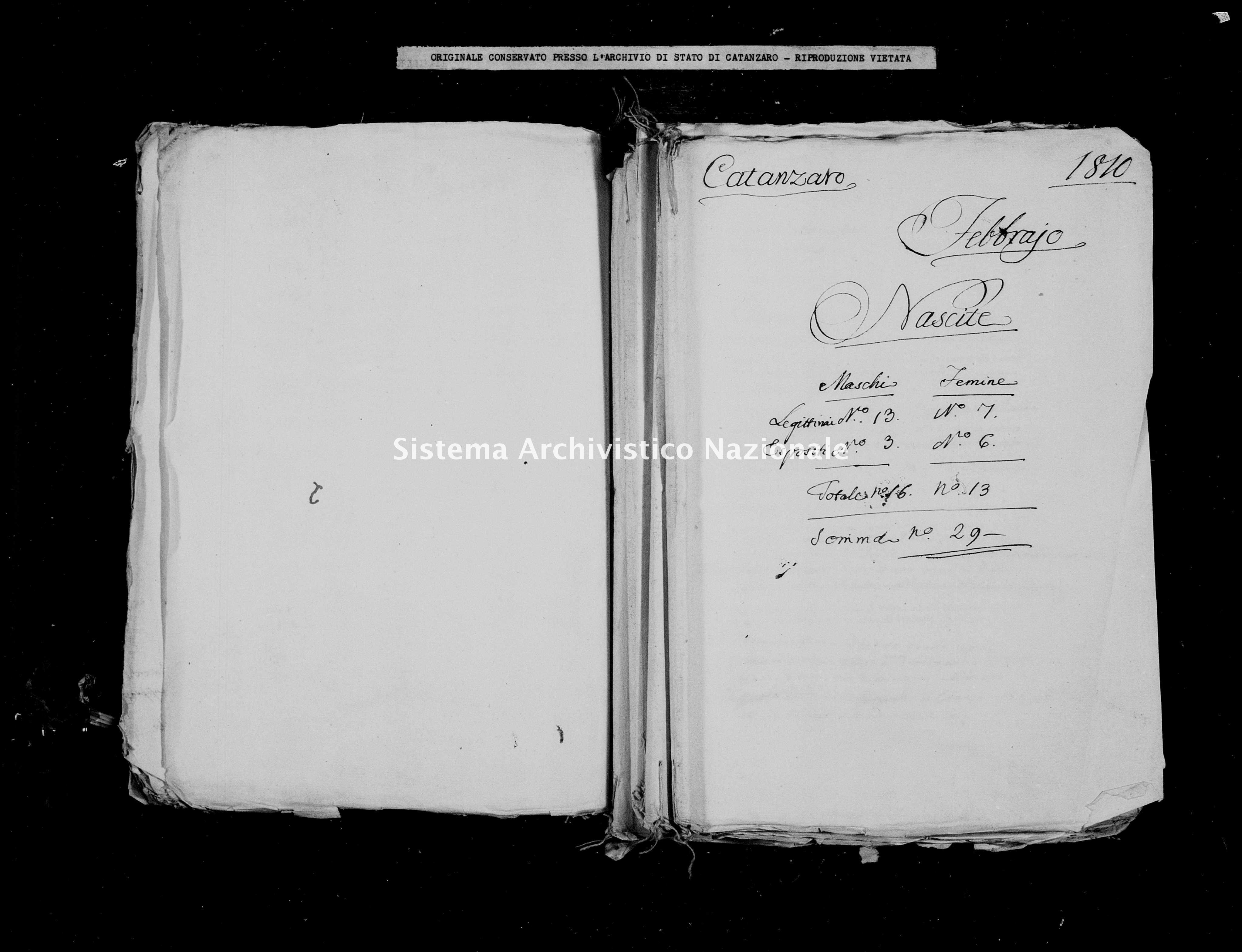 Archivio di stato di Catanzaro - Stato civile italiano - Catanzaro - Nati - 00/02/1810 -