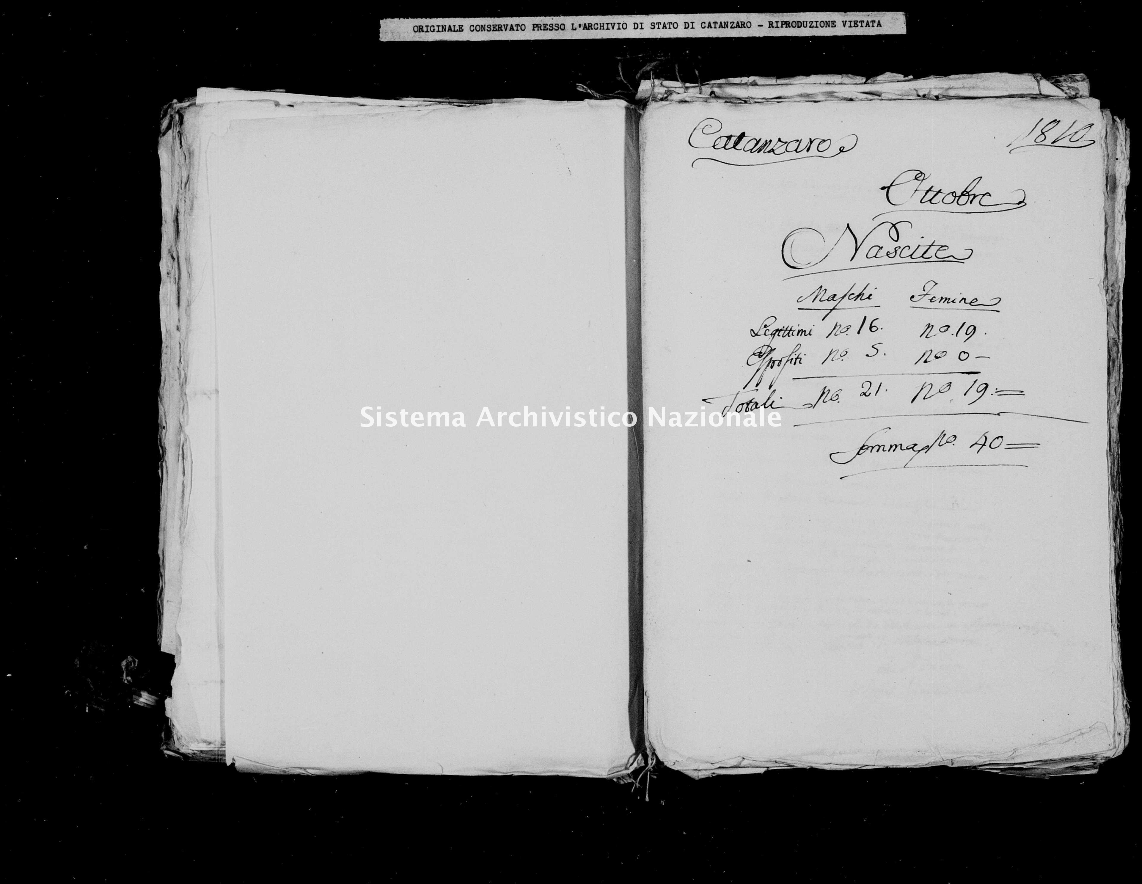 Archivio di stato di Catanzaro - Stato civile italiano - Catanzaro - Nati - 00/10/1810 -
