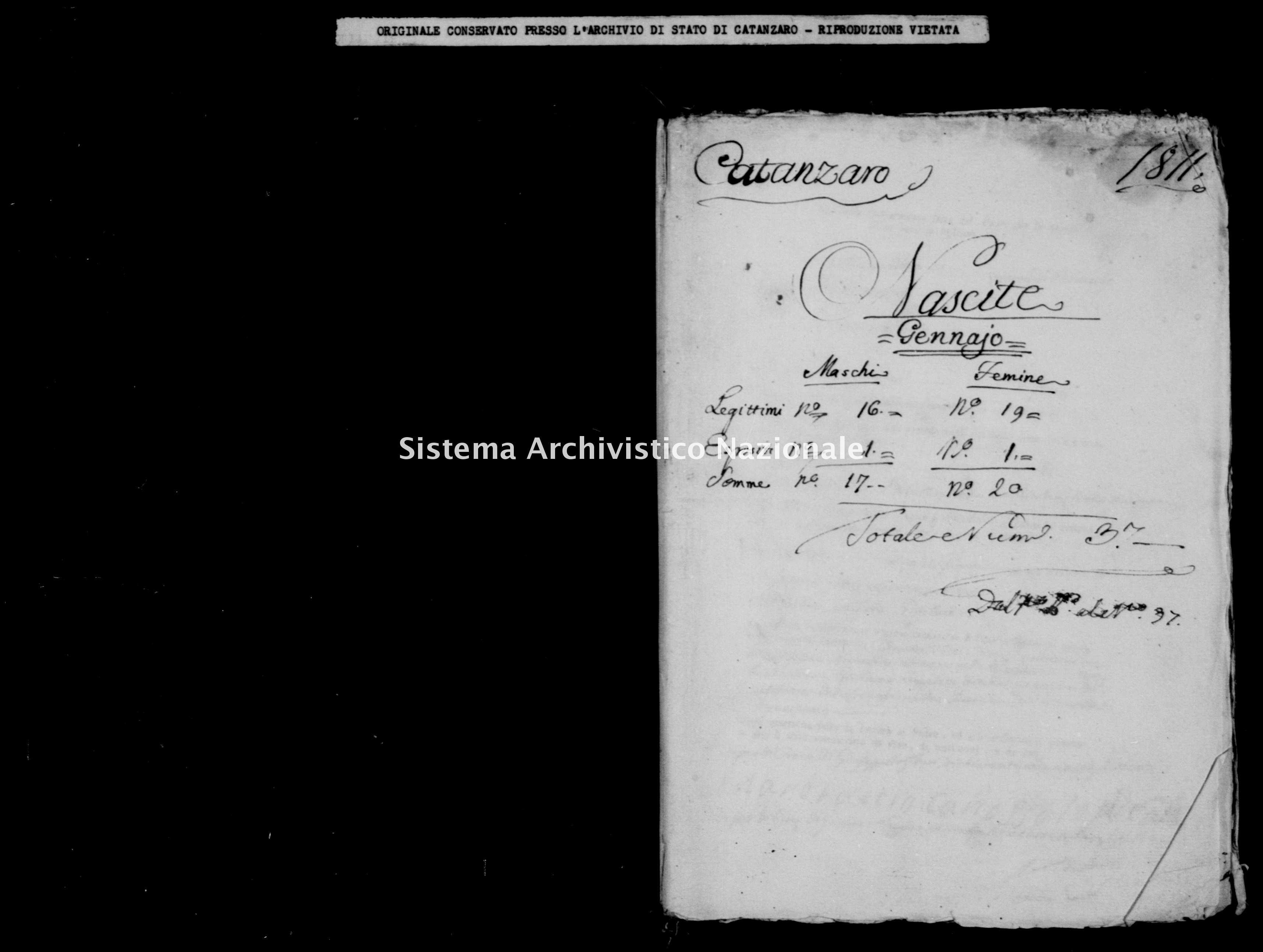 Archivio di stato di Catanzaro - Stato civile italiano - Catanzaro - Nati - 00/01/1811 - Seconda Coppia -