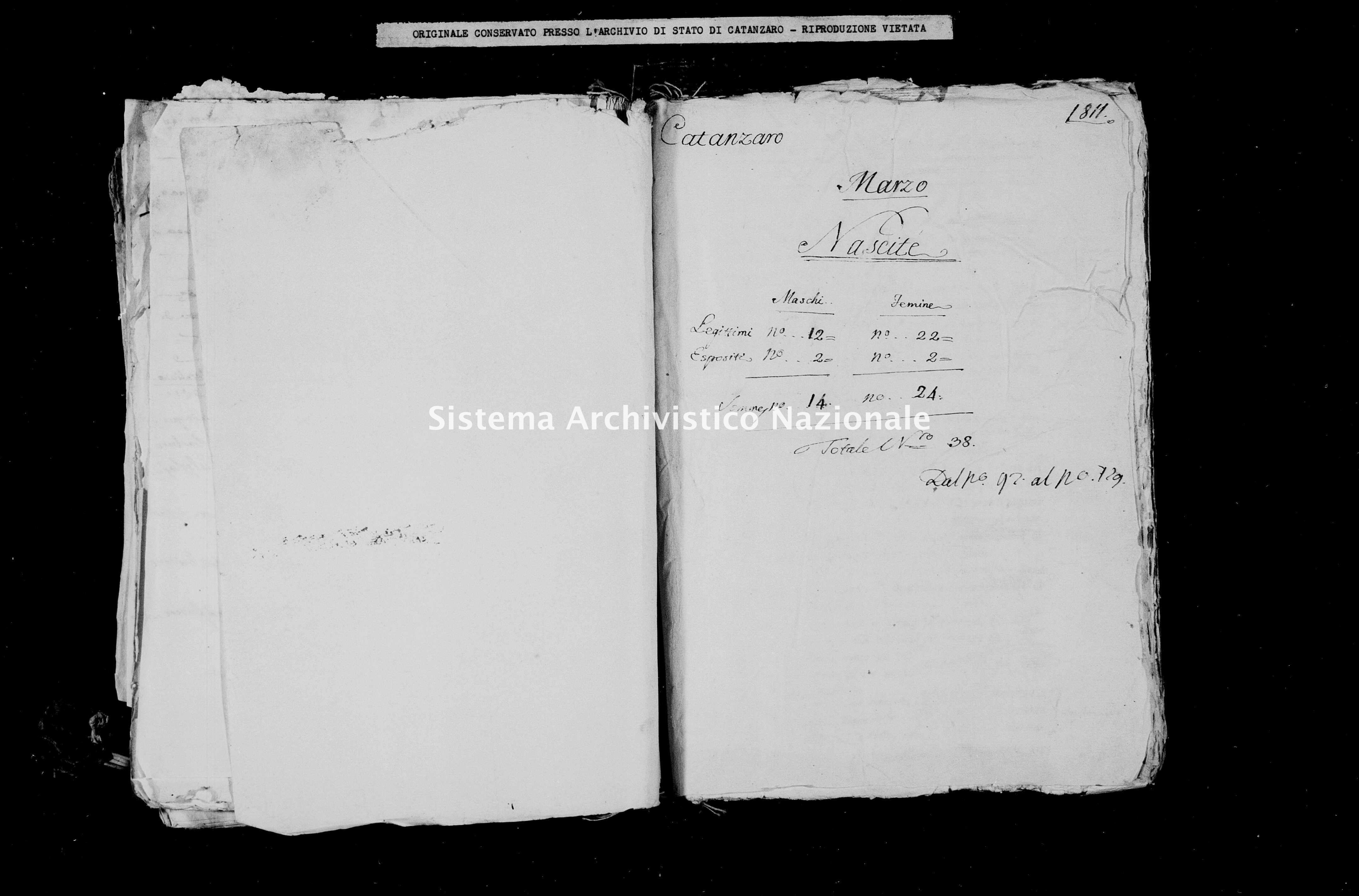 Archivio di stato di Catanzaro - Stato civile italiano - Catanzaro - Nati - 00/03/1811 -