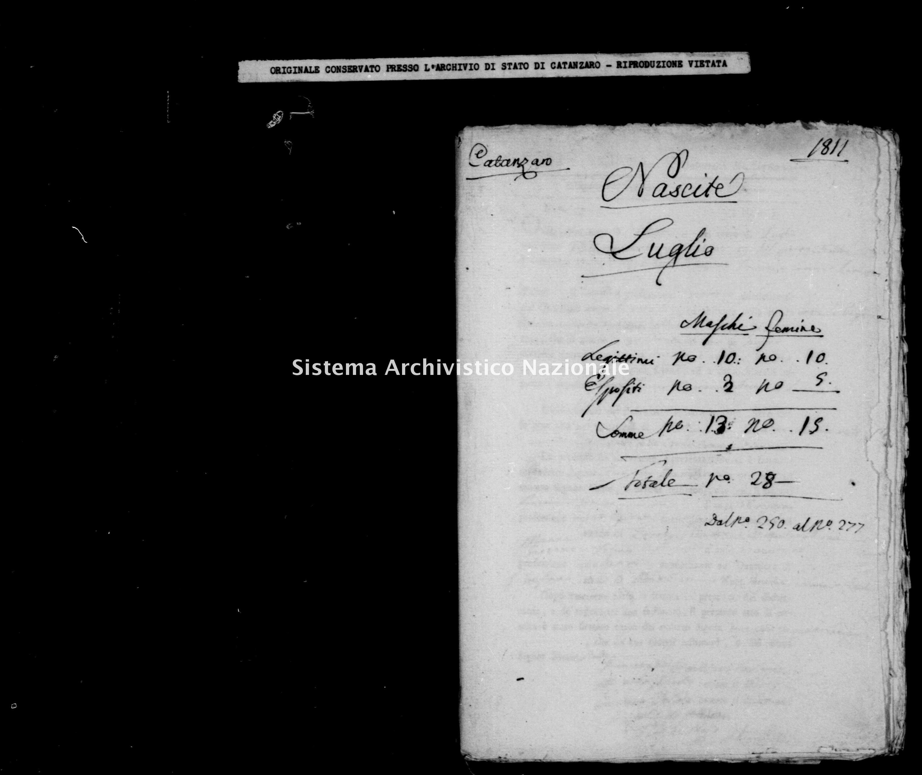 Archivio di stato di Catanzaro - Stato civile italiano - Catanzaro - Nati - 00/07/1811 -