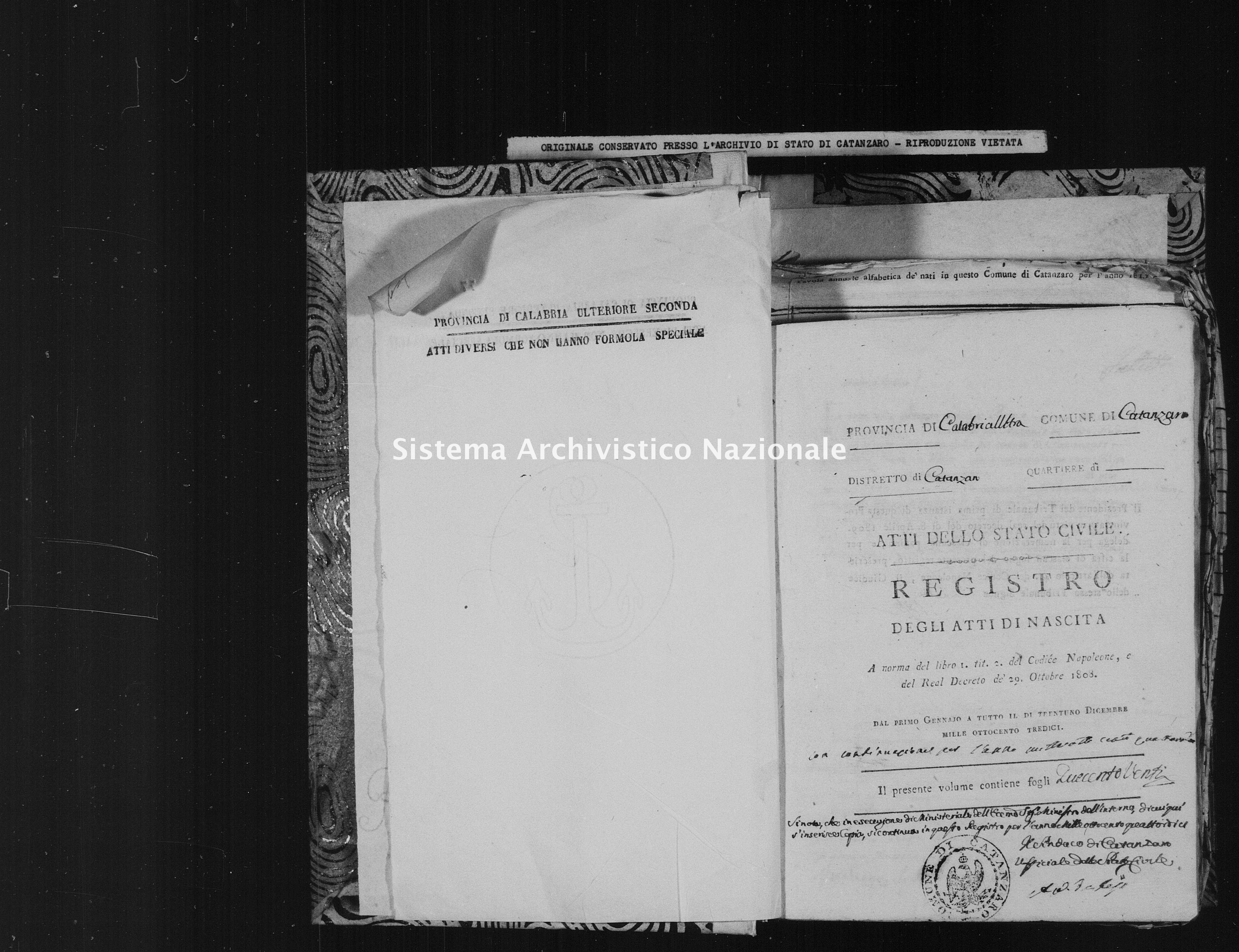 Archivio di stato di Catanzaro - Stato civile italiano - Catanzaro - Nati - 1813 -