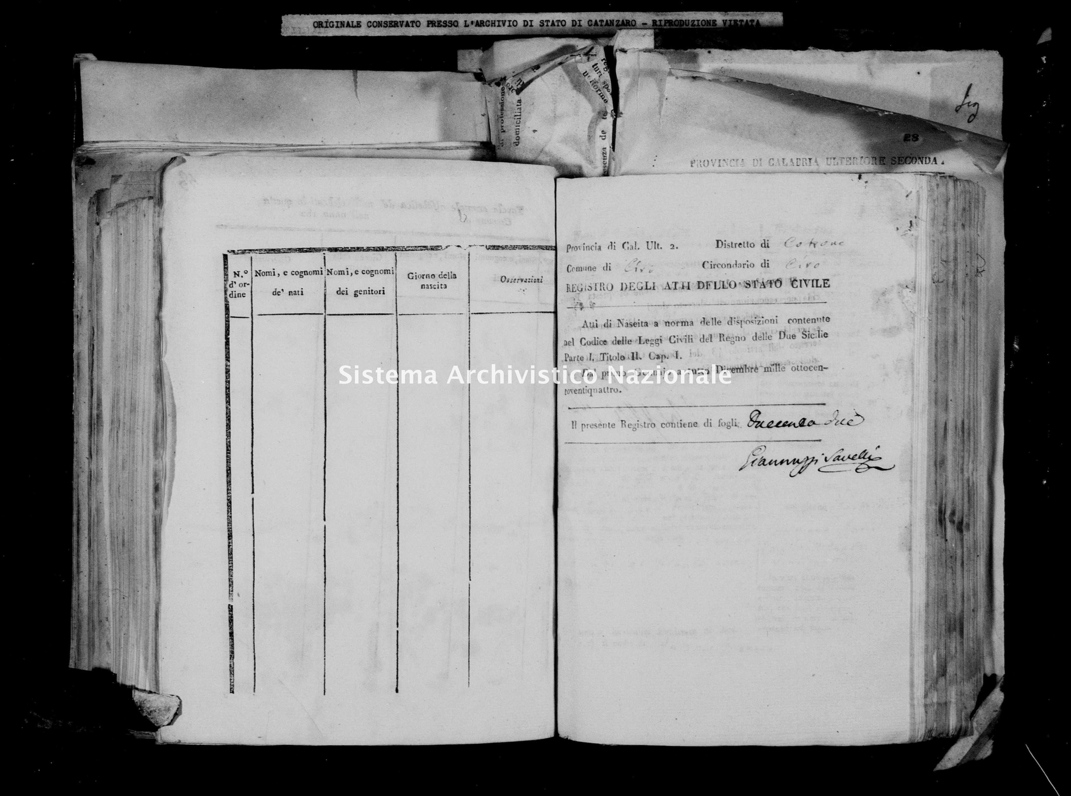 Archivio di stato di Catanzaro - Stato civile italiano - Cirò - Nati - 03/01/1824-28/11/1824 -