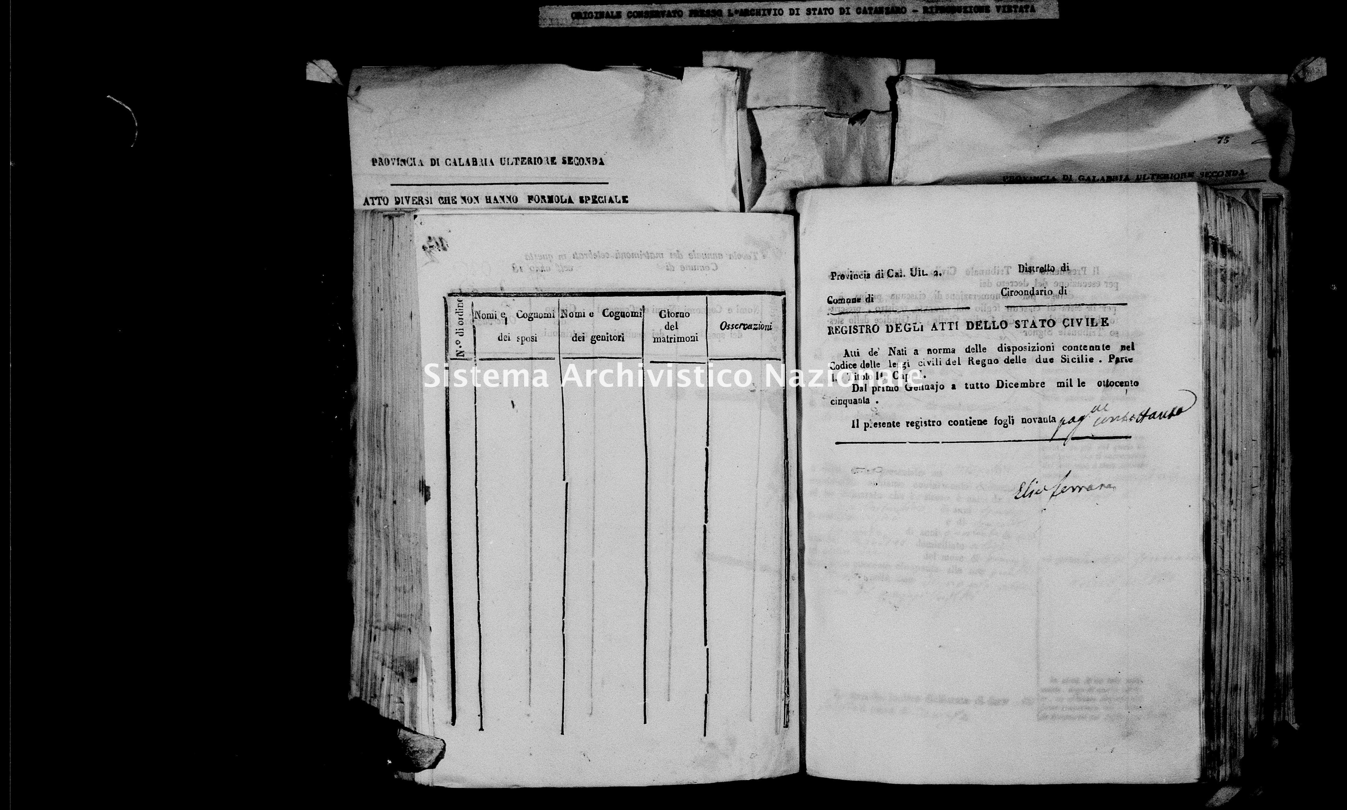 Archivio di stato di Catanzaro - Stato civile italiano - Cirò - Nati - 26/01/1850-17/12/1850 -