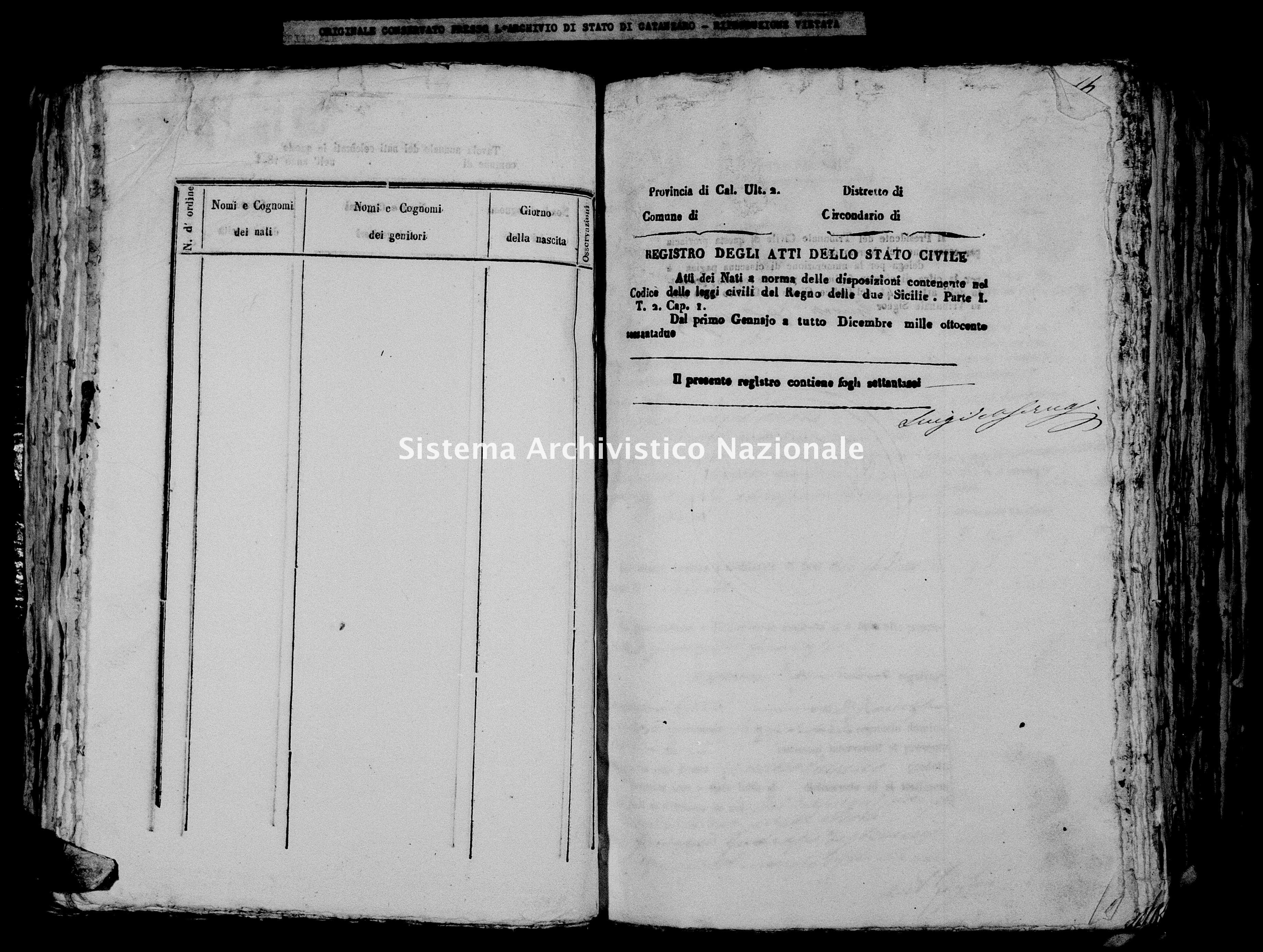 Archivio di stato di Catanzaro - Stato civile italiano - Cirò - Nati - 1862 -