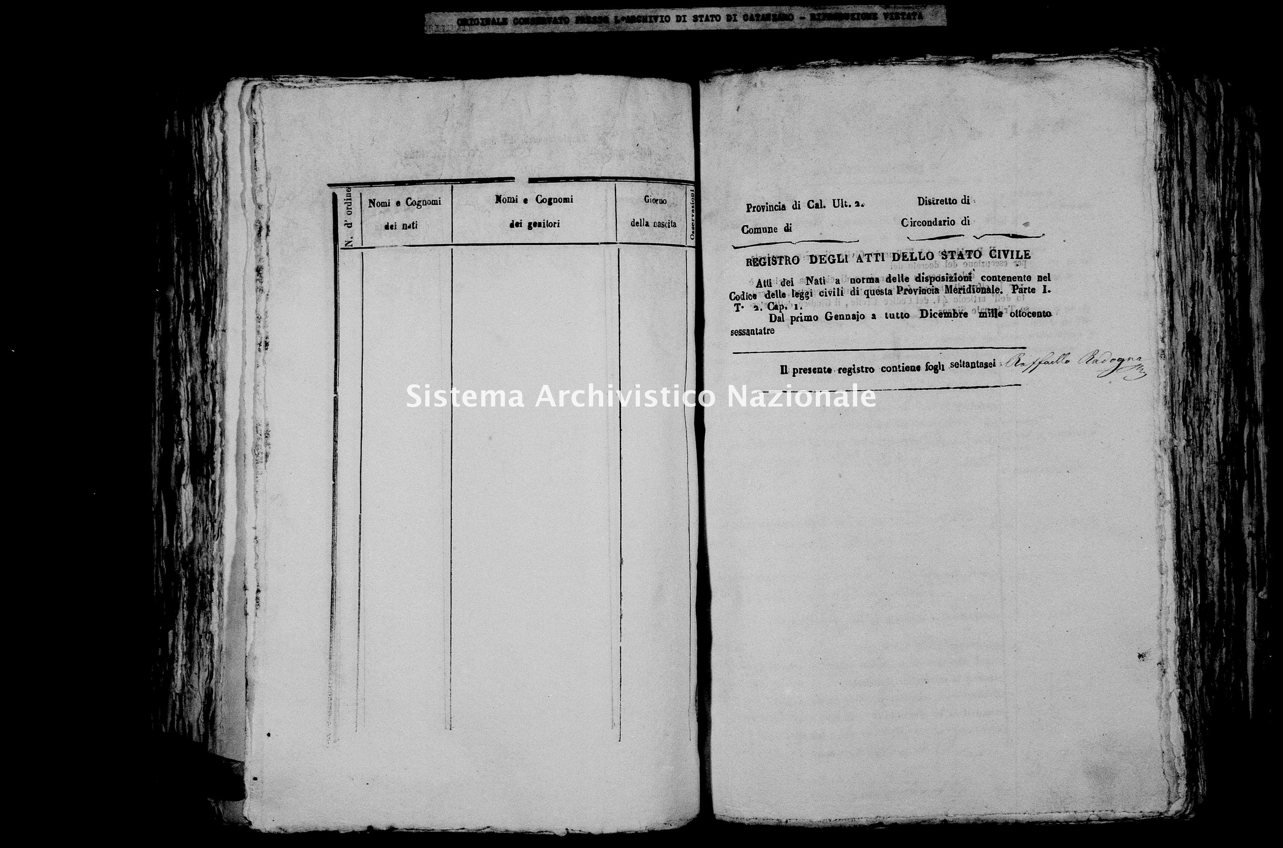 Archivio di stato di Catanzaro - Stato civile italiano - Cirò - Nati - 1863 -