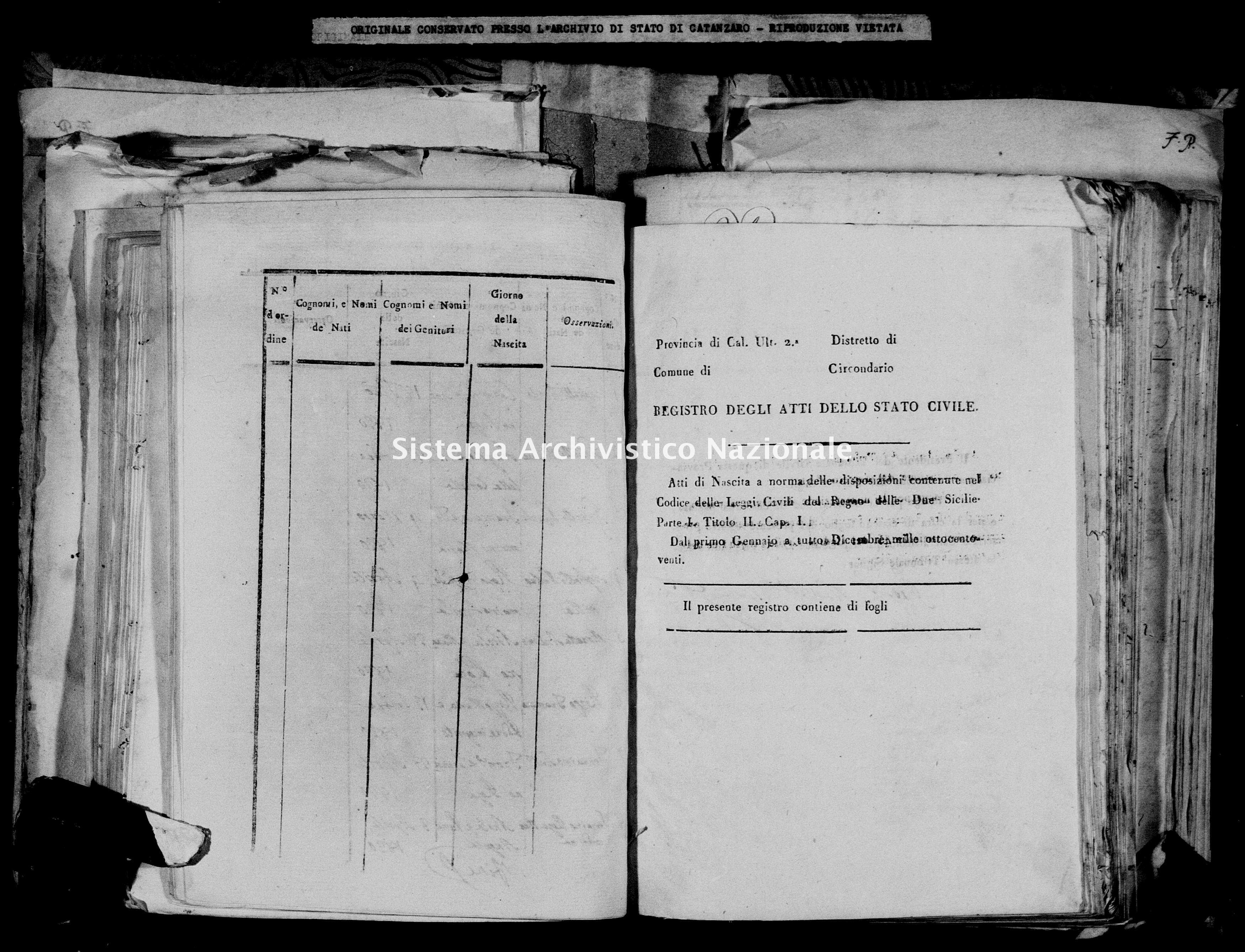 Archivio di stato di Catanzaro - Stato civile italiano - Decollatura - Nati - 03/01/1820-27/12/1820 -