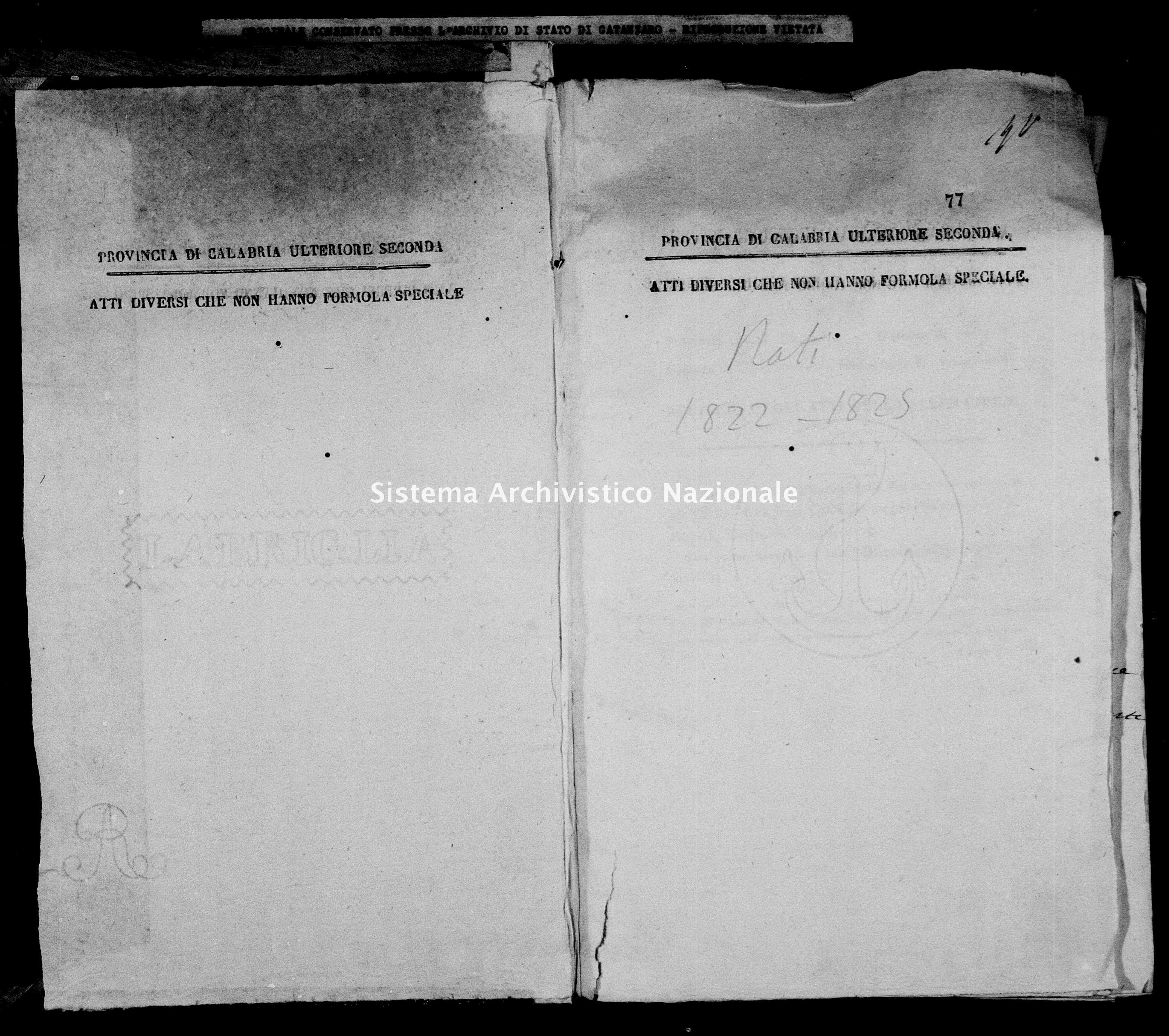 Archivio di stato di Catanzaro - Stato civile italiano - Decollatura - Nati - 06/02/1822-16/12/1822 -