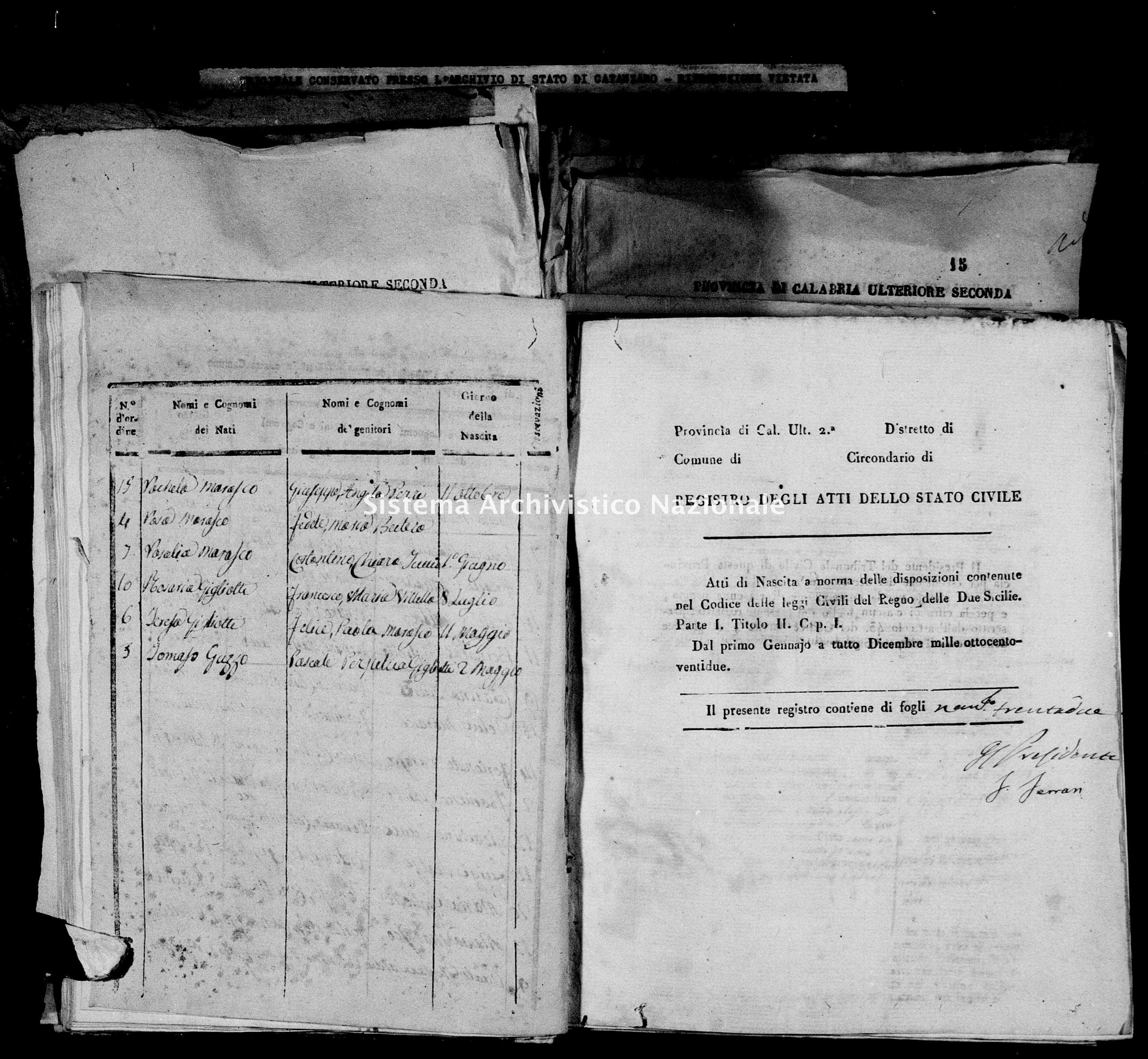Archivio di stato di Catanzaro - Stato civile italiano - Decollatura - Nati - 01/04/1822-08/11/1822 -