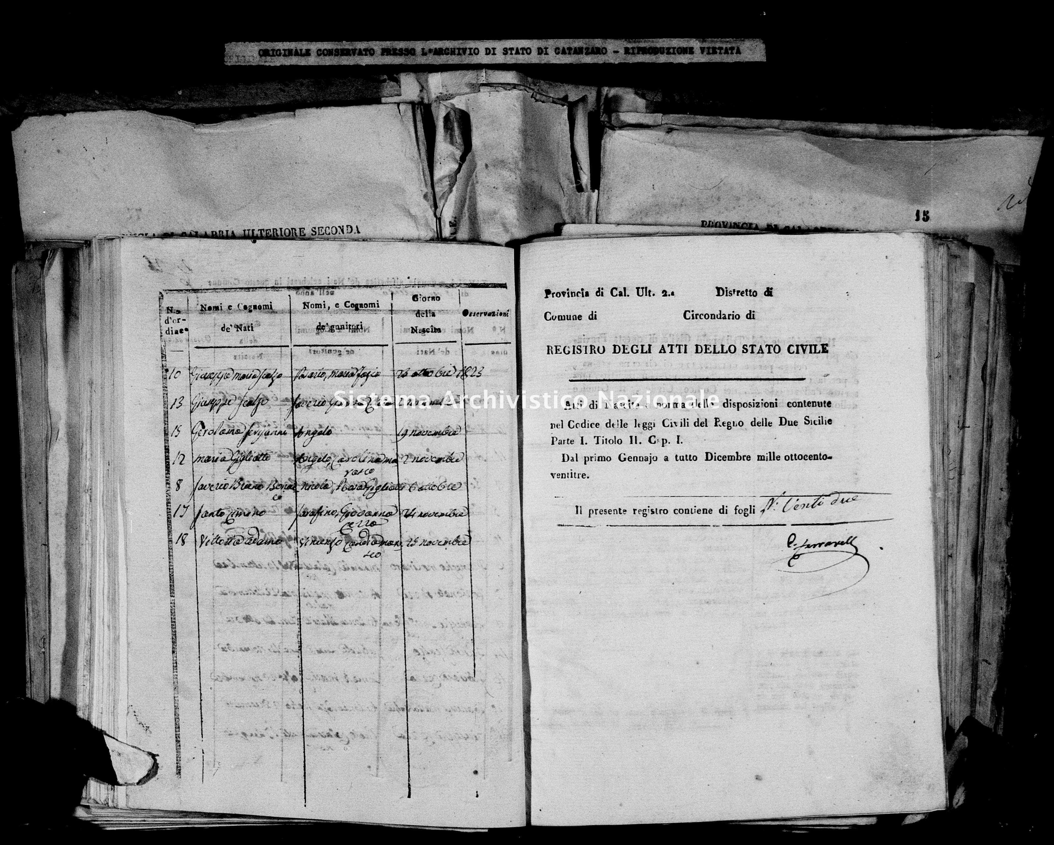 Archivio di stato di Catanzaro - Stato civile italiano - Decollatura - Nati - 30/01/1823-24/11/1823 -