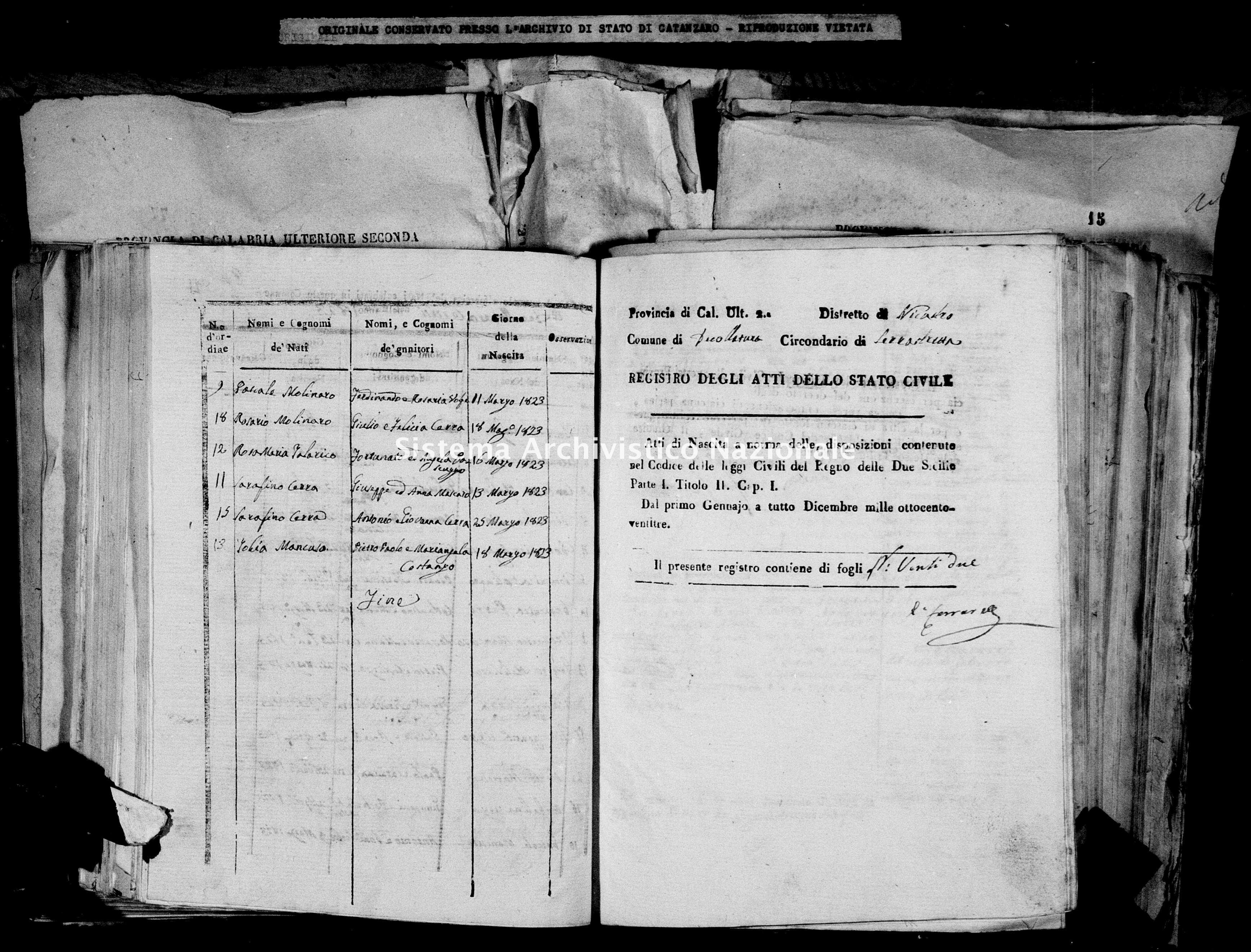 Archivio di stato di Catanzaro - Stato civile italiano - Decollatura - Nati - 06/02/1823-18/10/1823 -