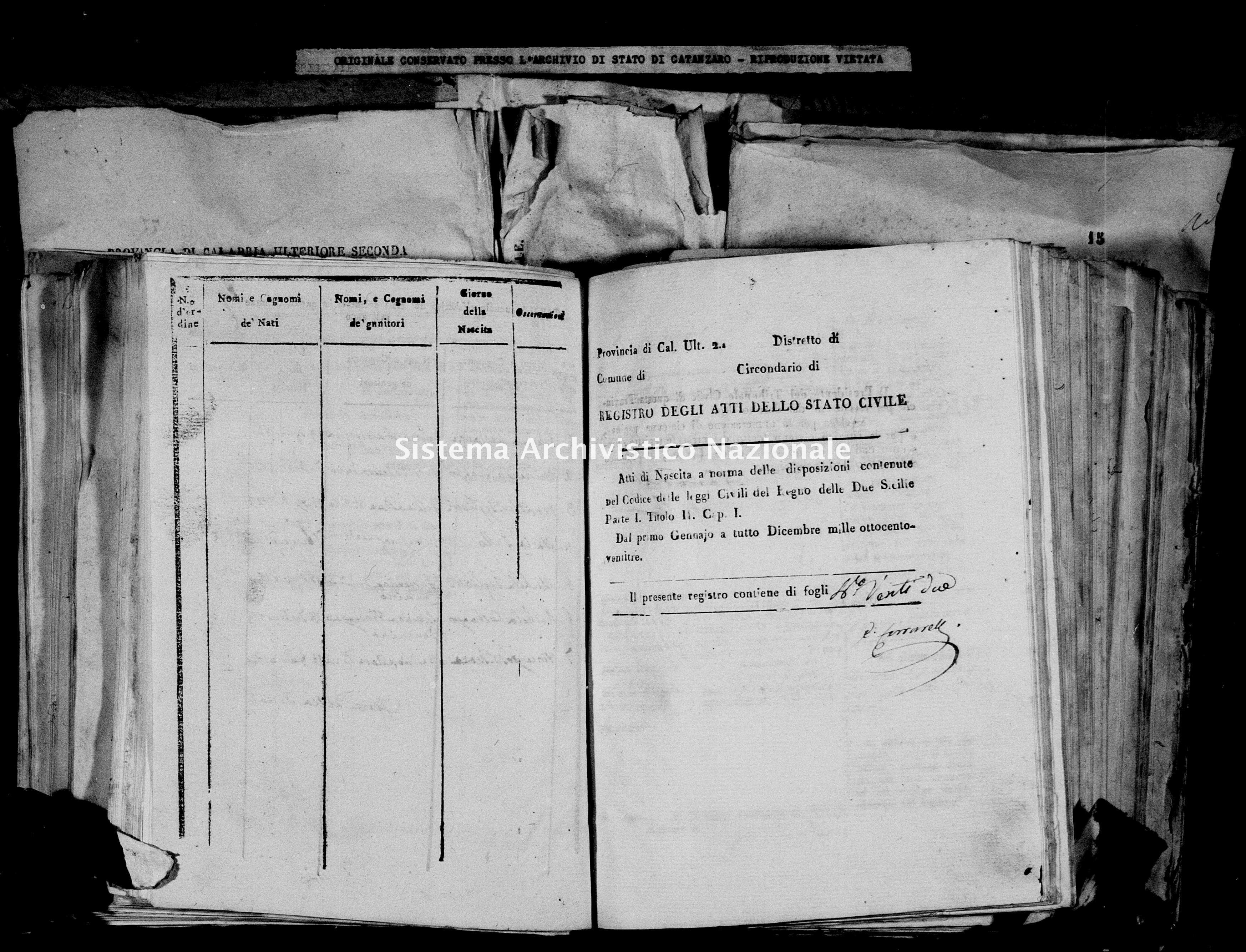 Archivio di stato di Catanzaro - Stato civile italiano - Decollatura - Nati - 21/07/1823-05/12/1823 -