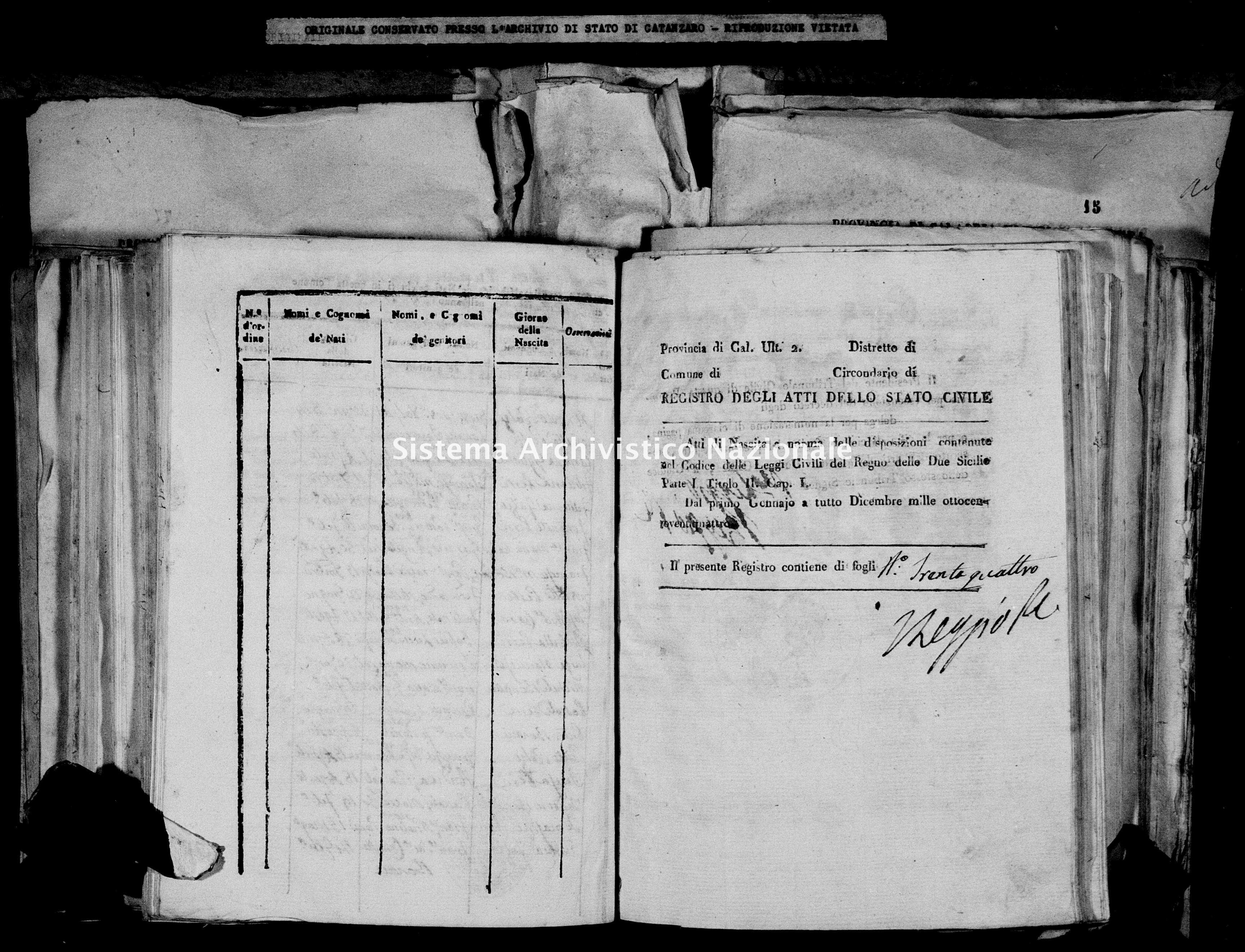 Archivio di stato di Catanzaro - Stato civile italiano - Decollatura - Nati - 20/09/1824-31/12/1824 -