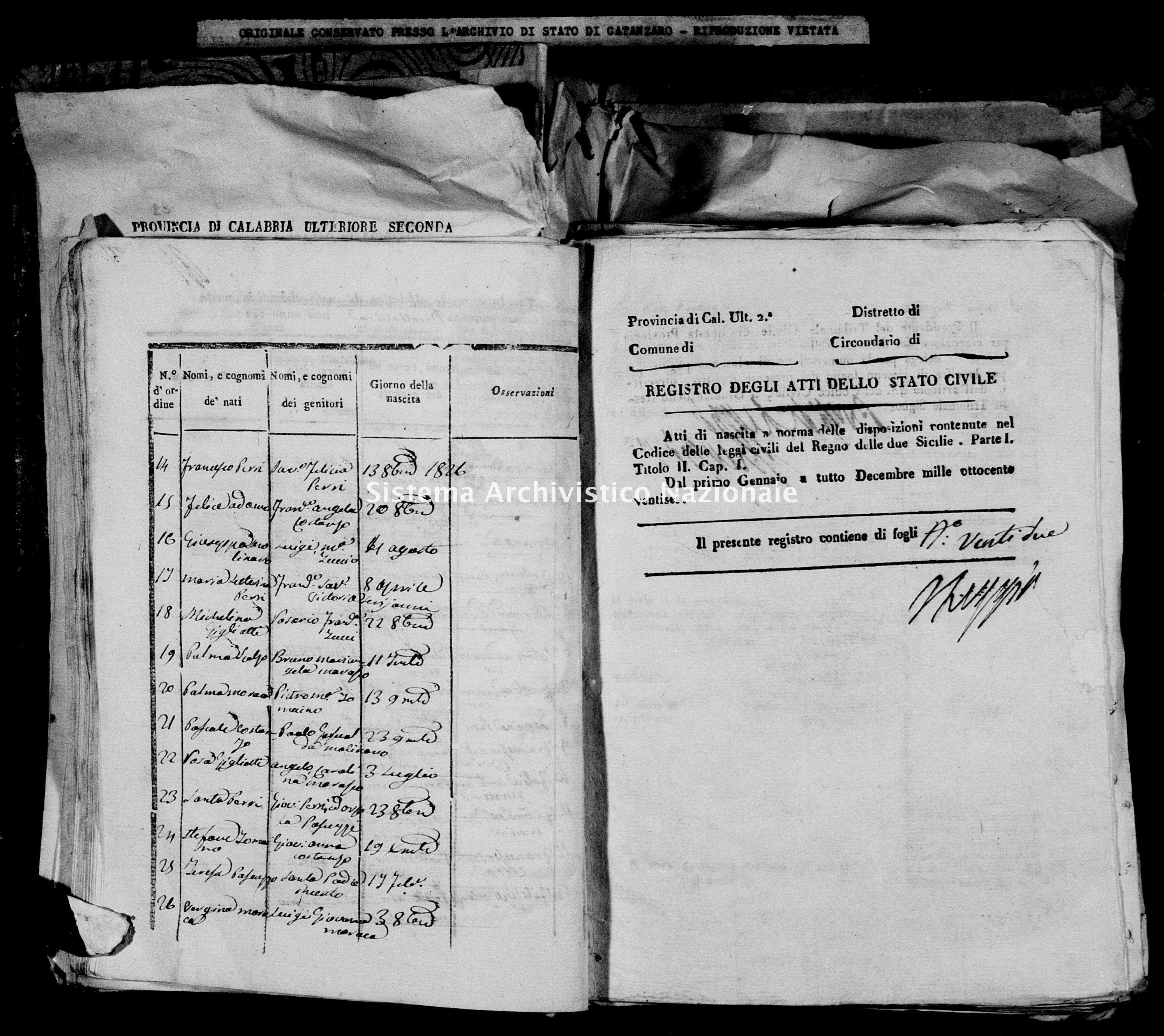 Archivio di stato di Catanzaro - Stato civile italiano - Decollatura - Nati - 06/06/1826-16/12/1826 -