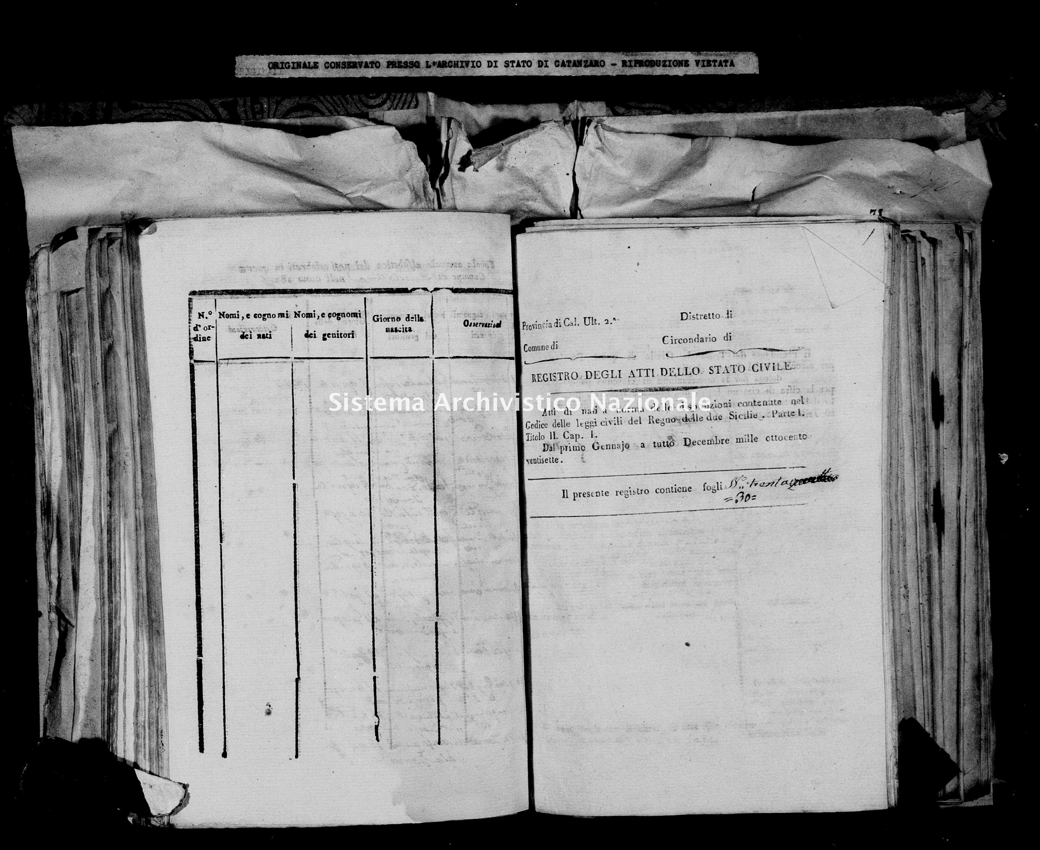 Archivio di stato di Catanzaro - Stato civile italiano - Decollatura - Nati - 02/01/1827-16/12/1827 -