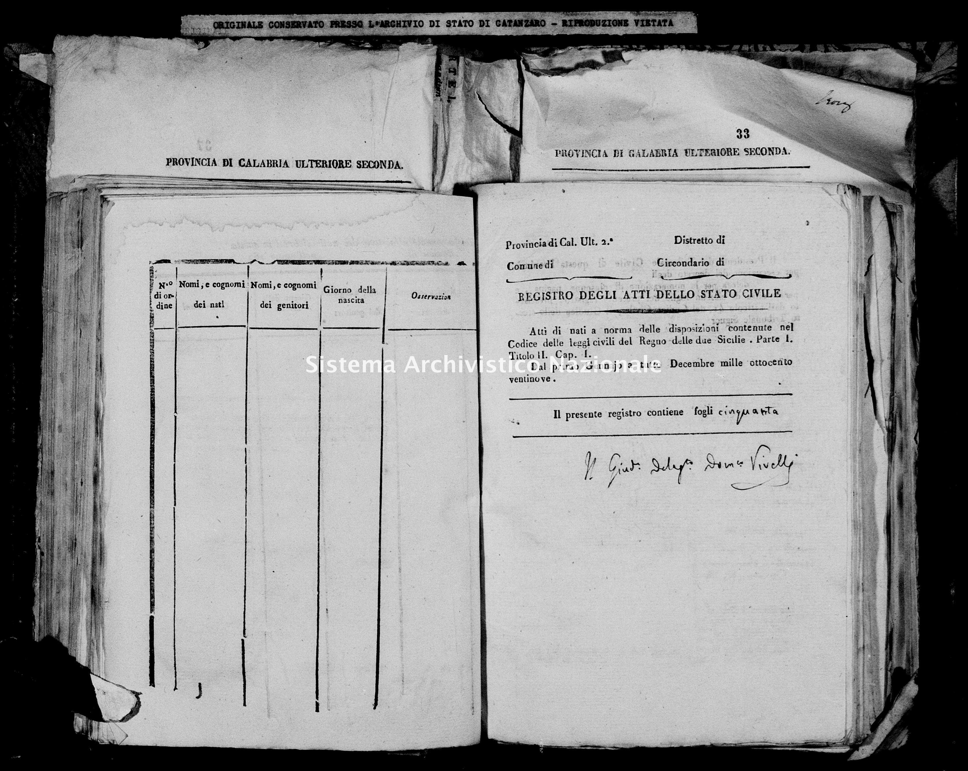 Archivio di stato di Catanzaro - Stato civile italiano - Decollatura - Nati - 30/01/1829-24/12/1829 -