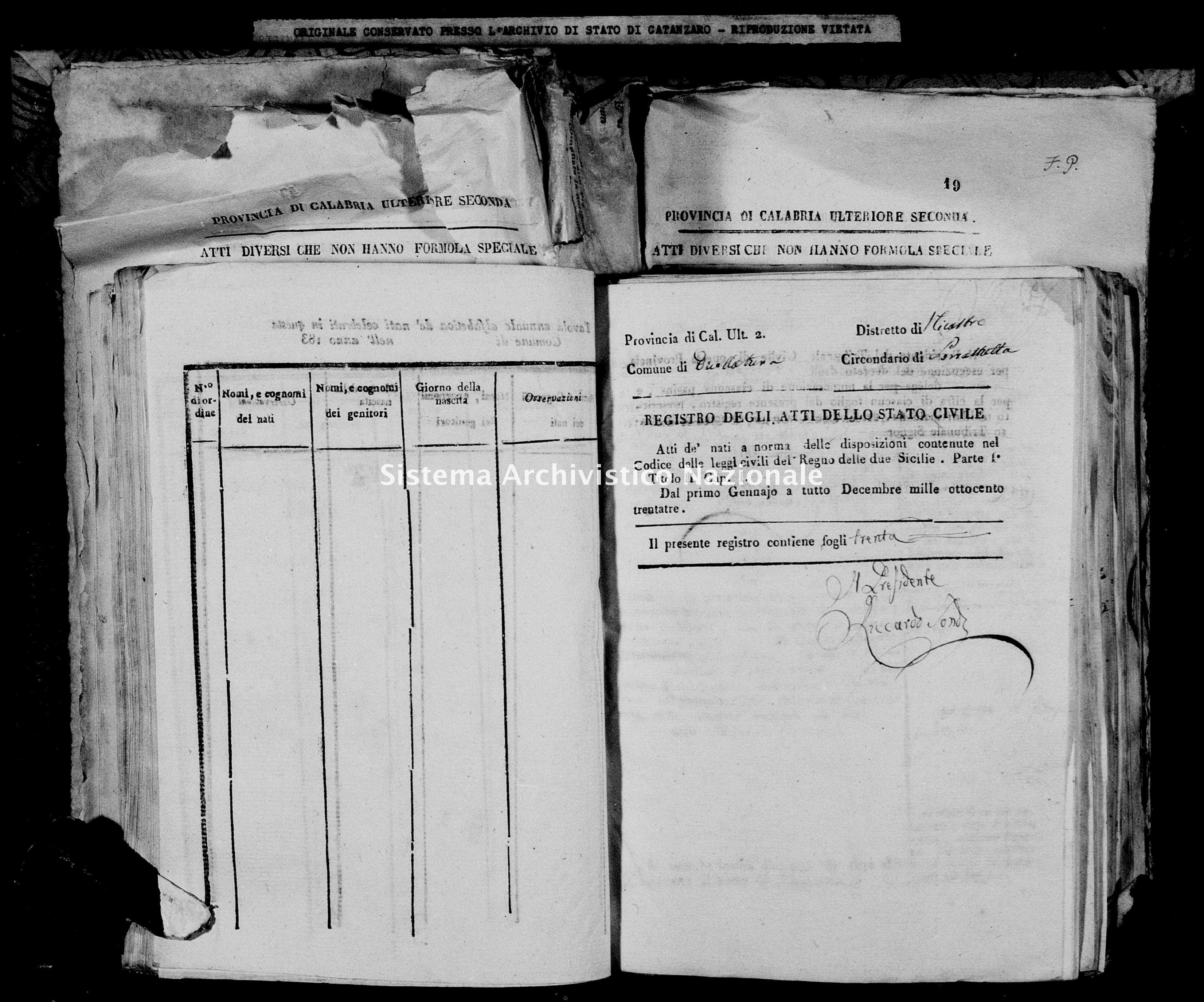 Archivio di stato di Catanzaro - Stato civile italiano - Decollatura - Nati - 23/01/1833-27/12/1833 -