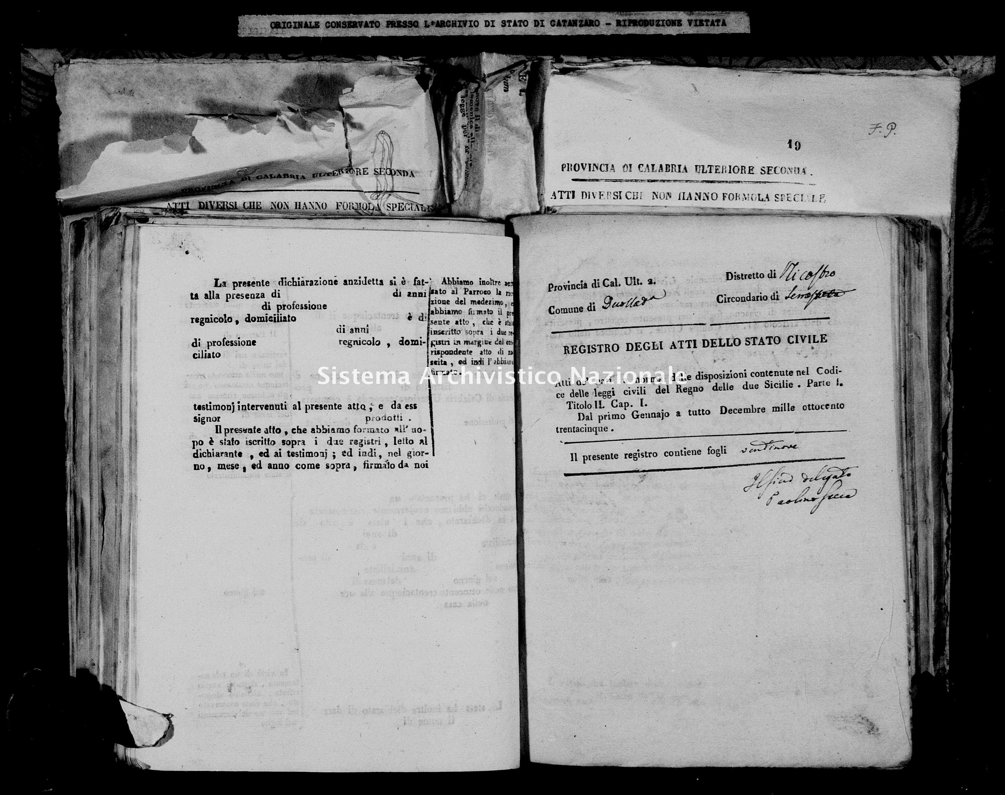Archivio di stato di Catanzaro - Stato civile italiano - Decollatura - Nati - 06/01/1835-05/07/1835 -