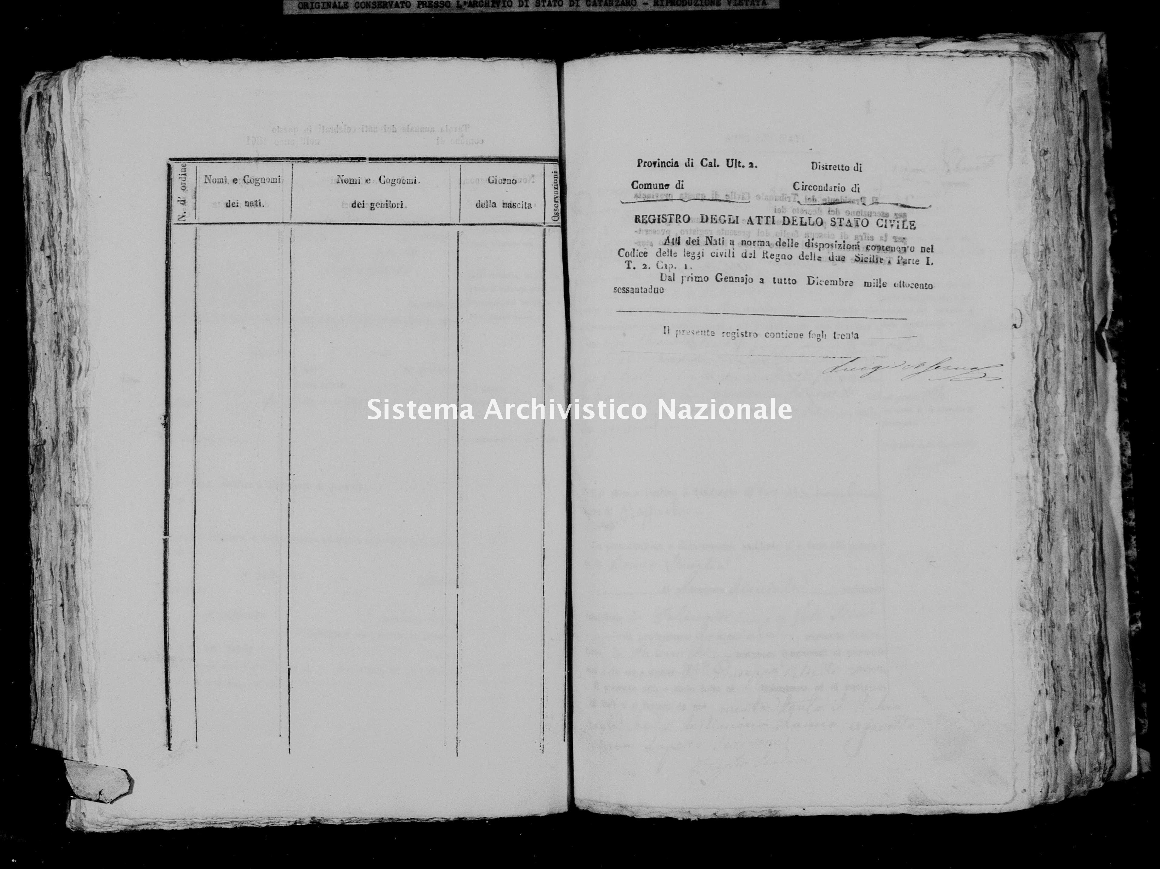 Archivio di stato di Catanzaro - Stato civile italiano - Palermiti - Nati - 1862 -
