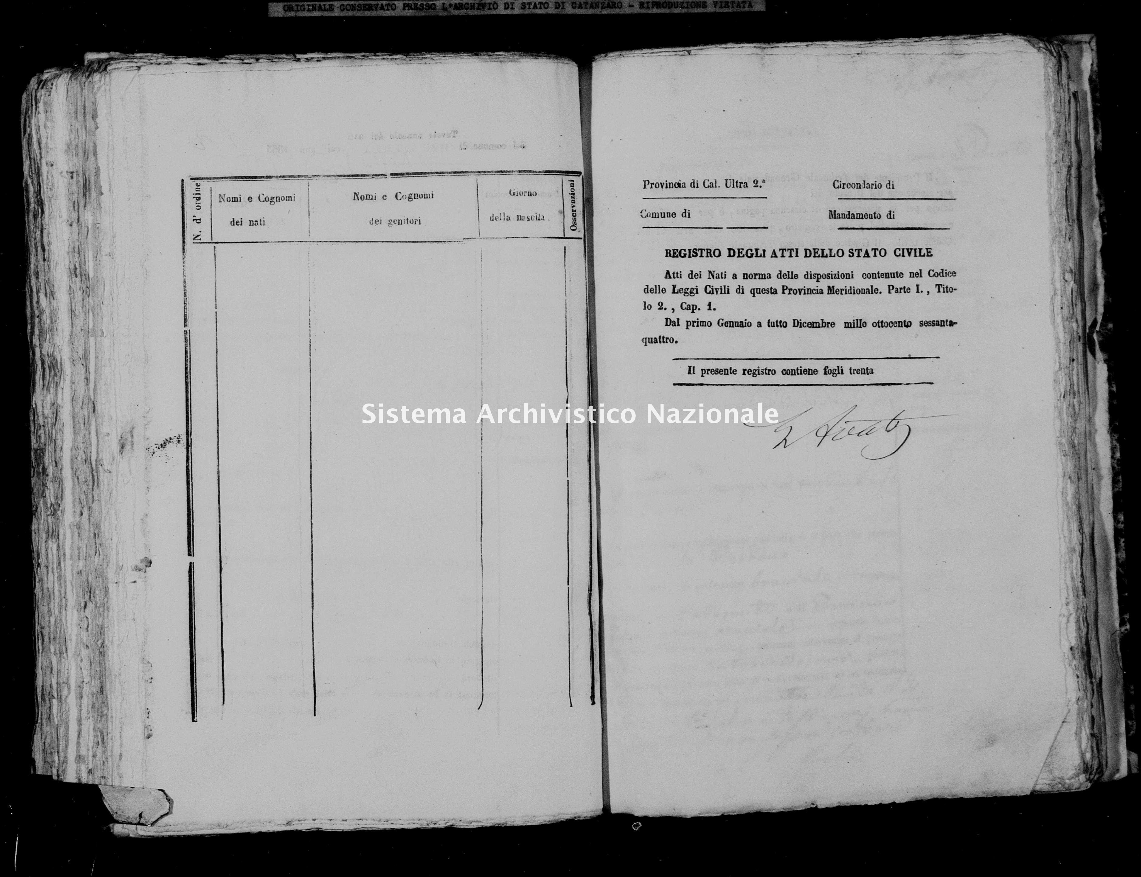 Archivio di stato di Catanzaro - Stato civile italiano - Palermiti - Nati - 1864 -
