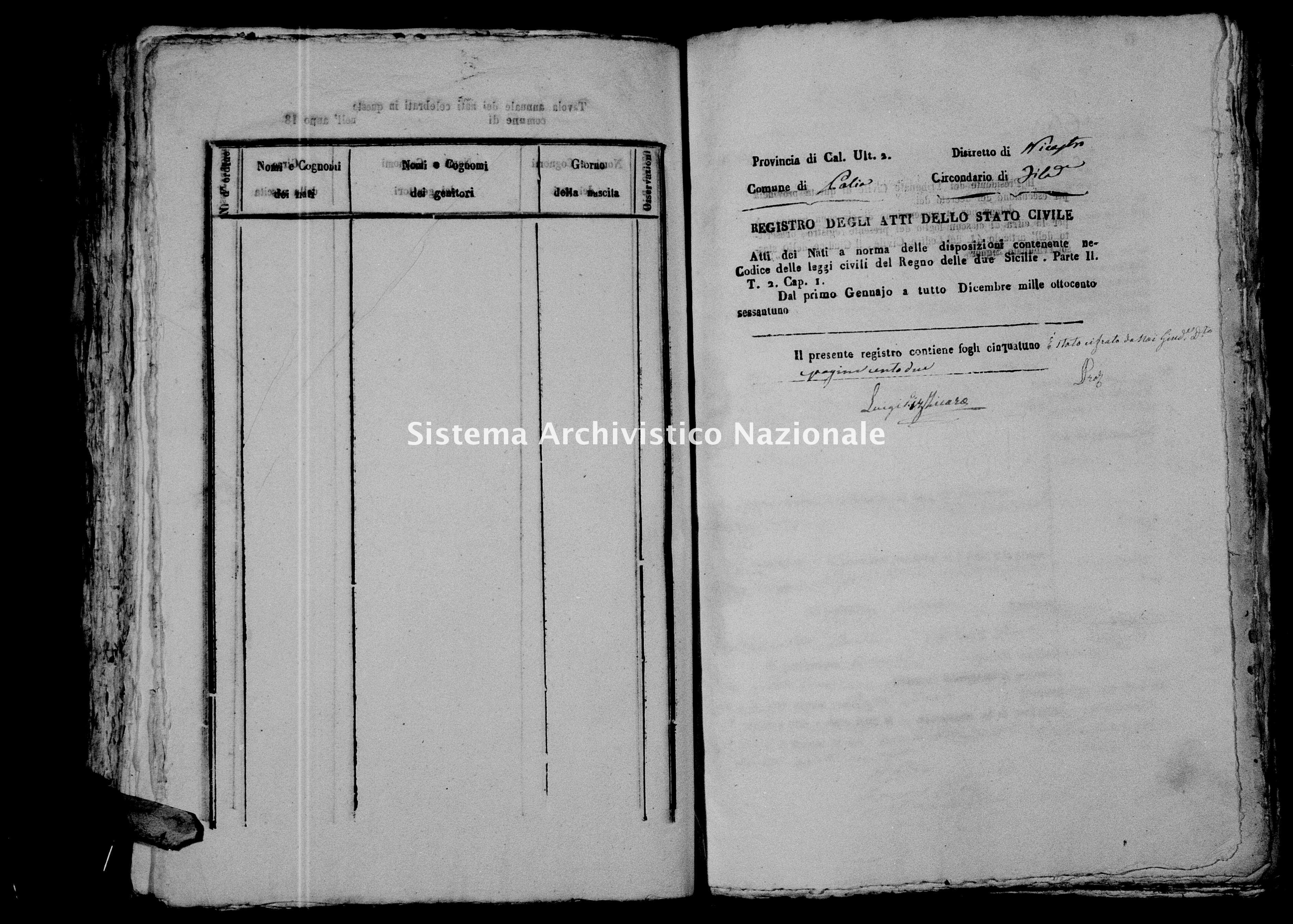 Archivio di stato di Catanzaro - Stato civile italiano - Polia - Nati - 1861 -