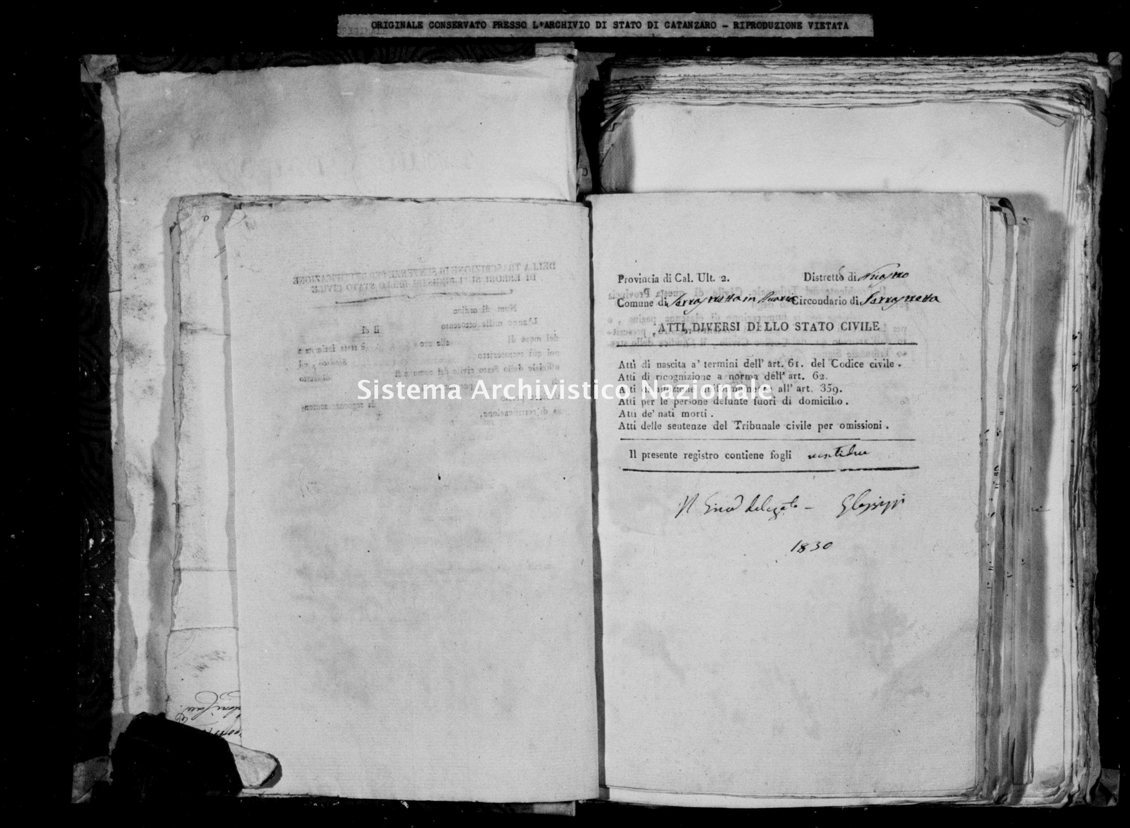 Archivio di stato di Catanzaro - Stato civile della restaurazione - Accaria - Diversi - 1830 -