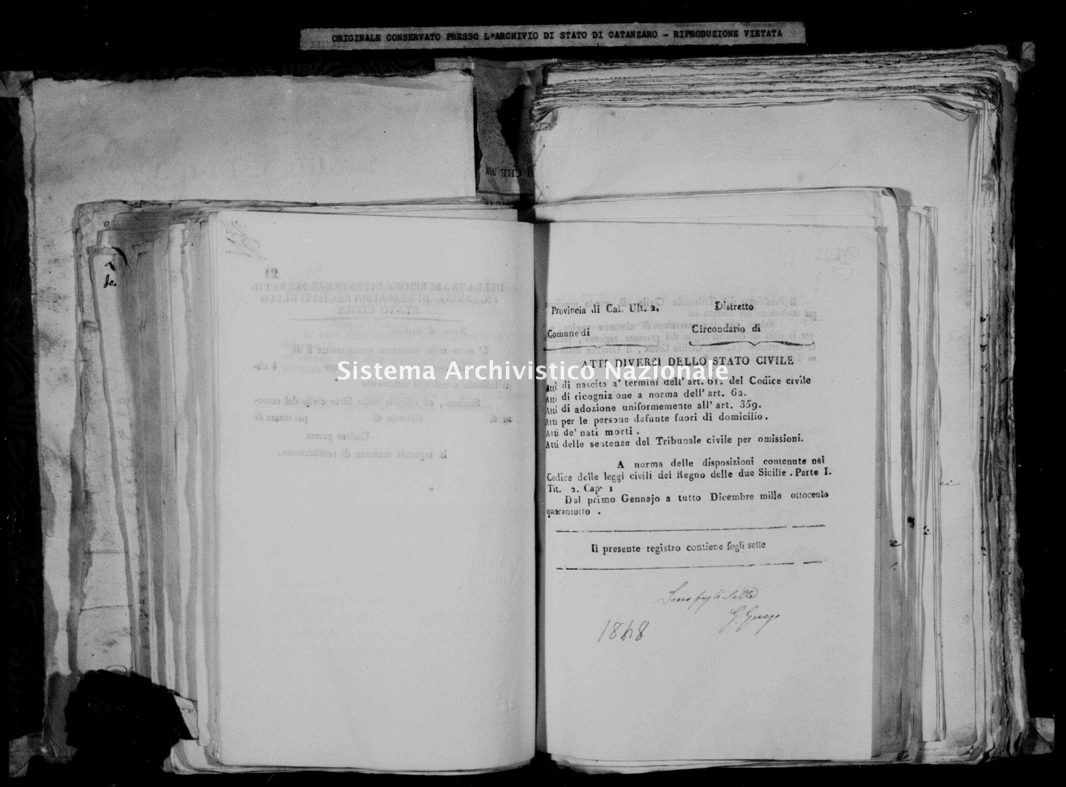 Archivio di stato di Catanzaro - Stato civile della restaurazione - Accaria - Diversi - 1848 -