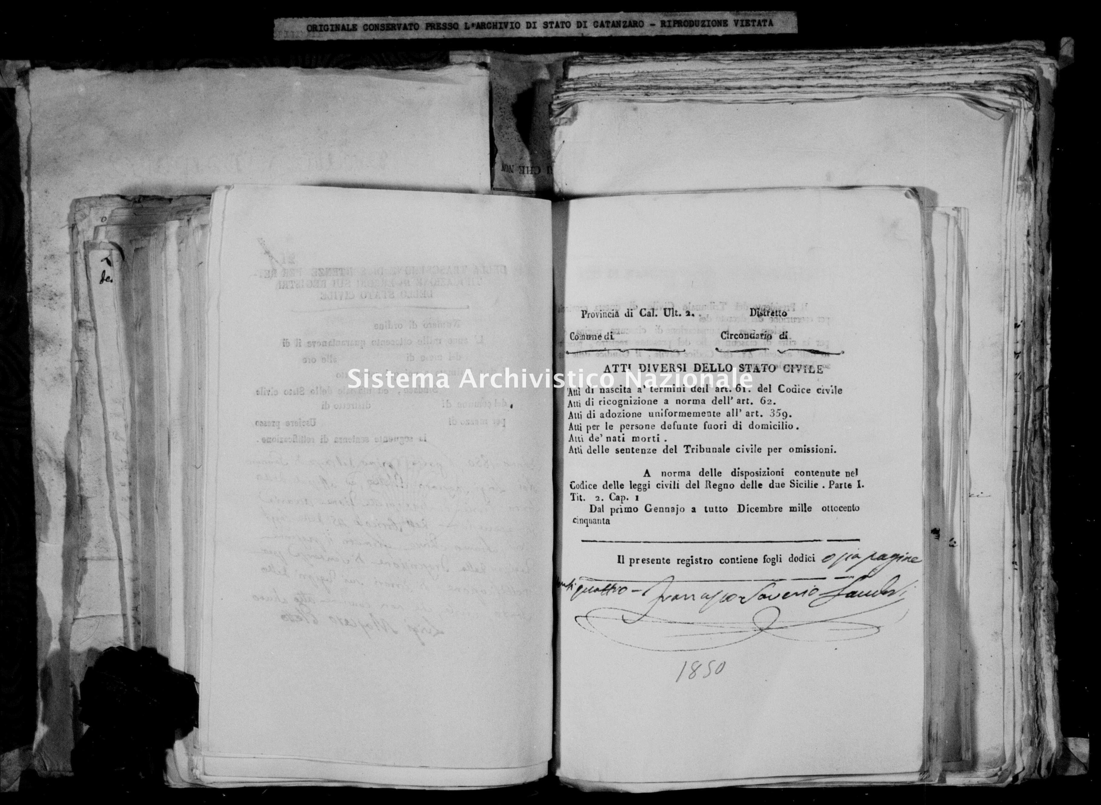 Archivio di stato di Catanzaro - Stato civile della restaurazione - Accaria - Diversi - 1850 -