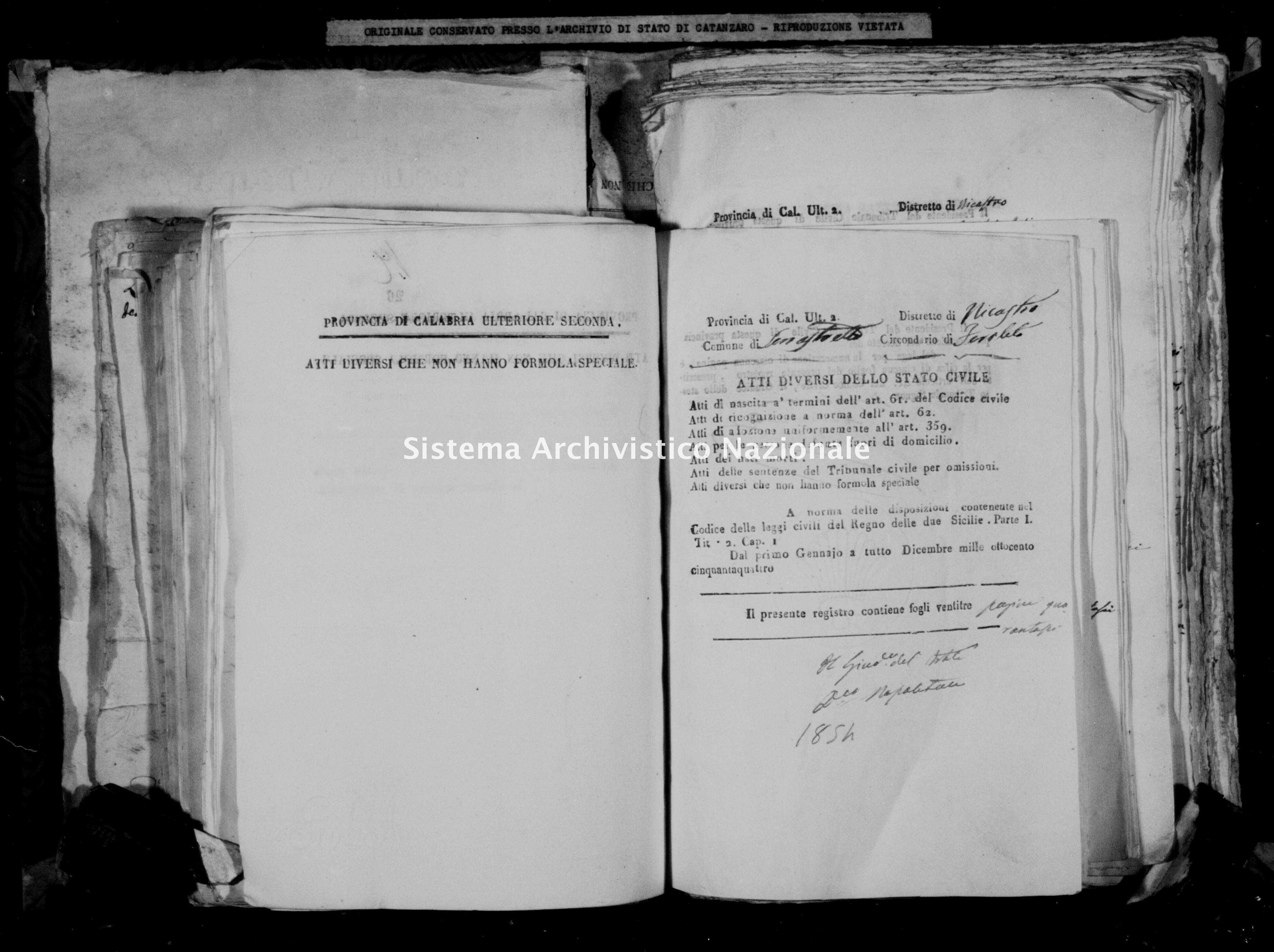Archivio di stato di Catanzaro - Stato civile della restaurazione - Accaria - Diversi - 1854 -