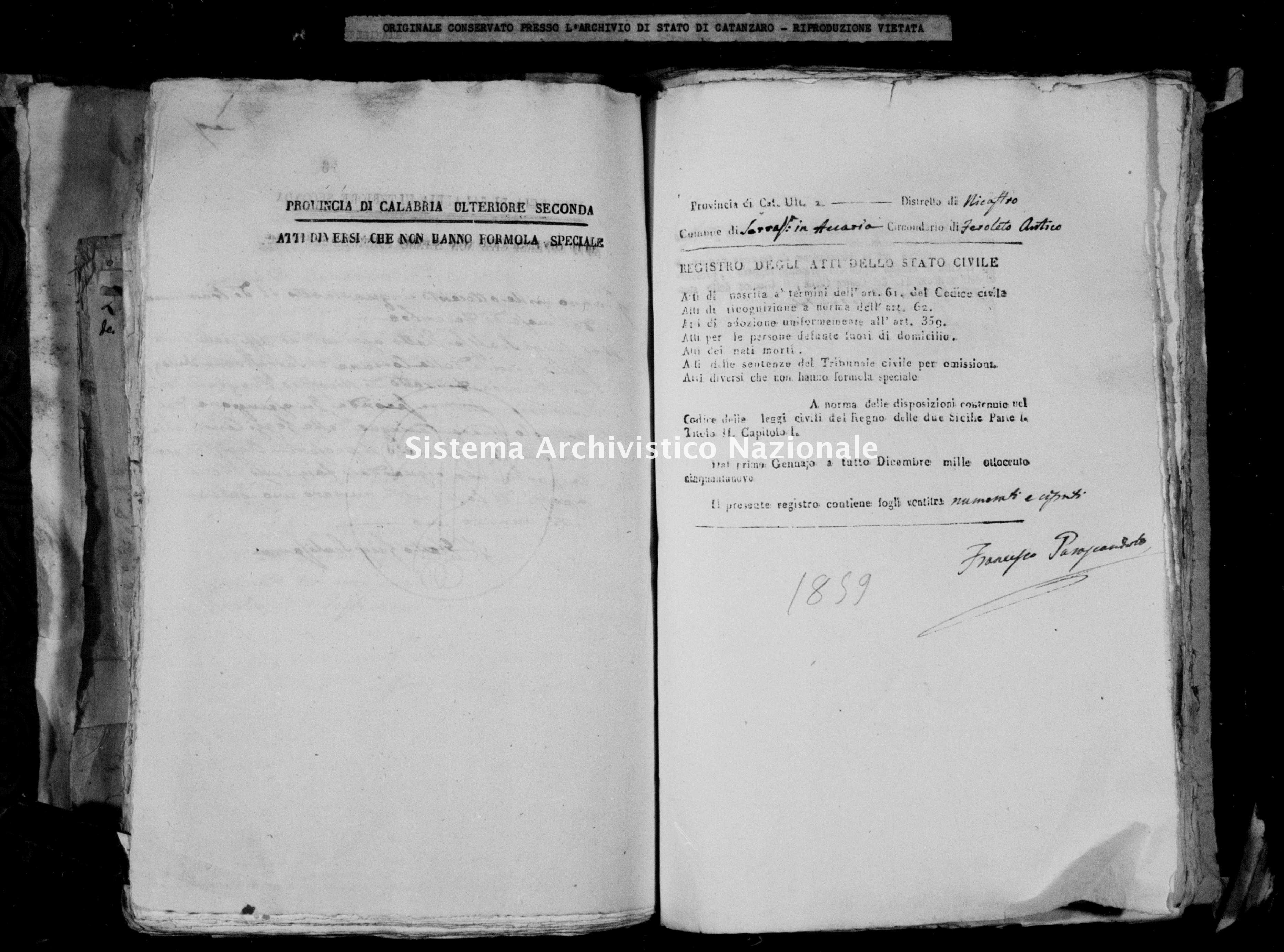 Archivio di stato di Catanzaro - Stato civile della restaurazione - Accaria - Diversi - 1859 -