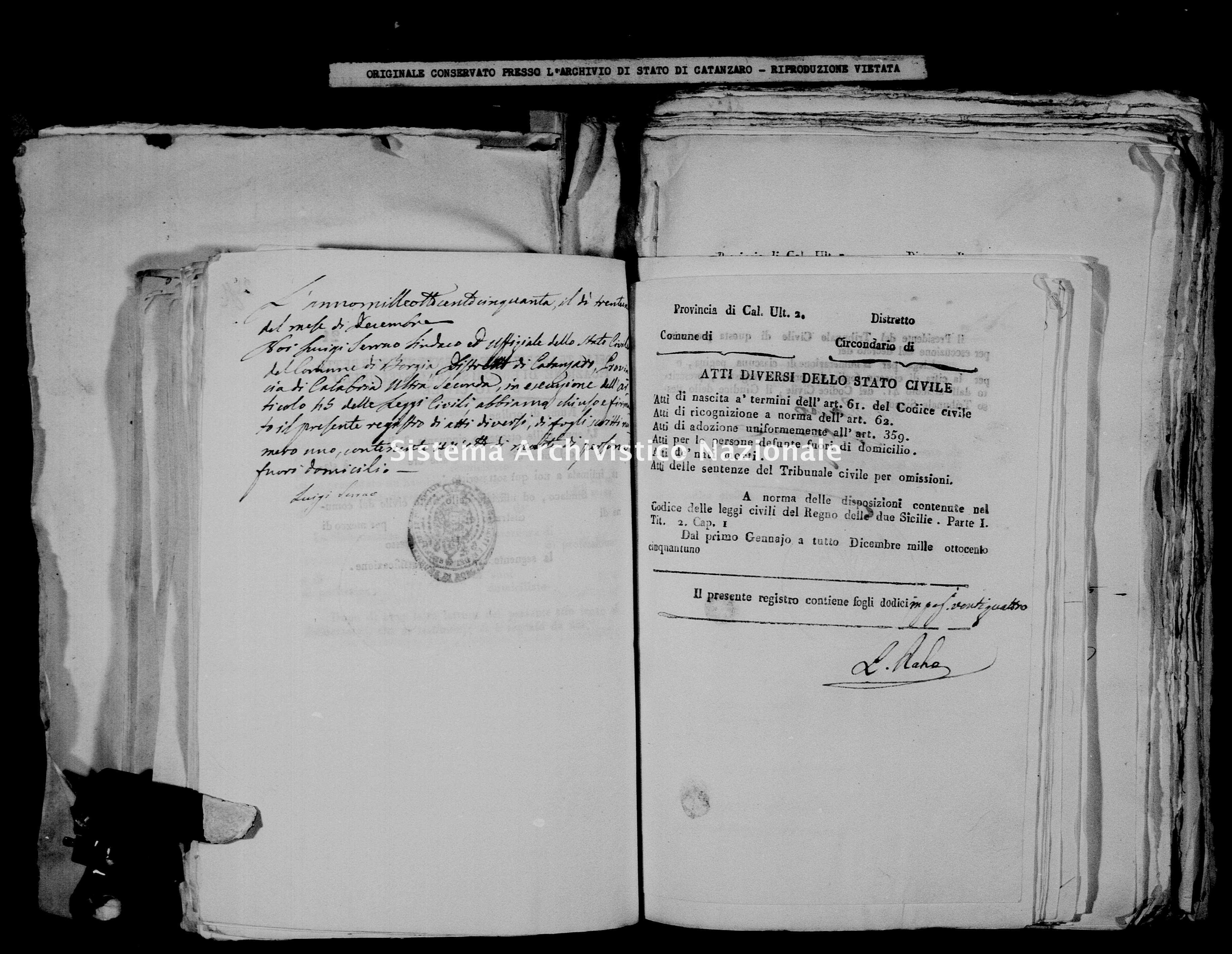 Archivio di stato di Catanzaro - Stato civile della restaurazione - Borgia - Diversi - 1851 -