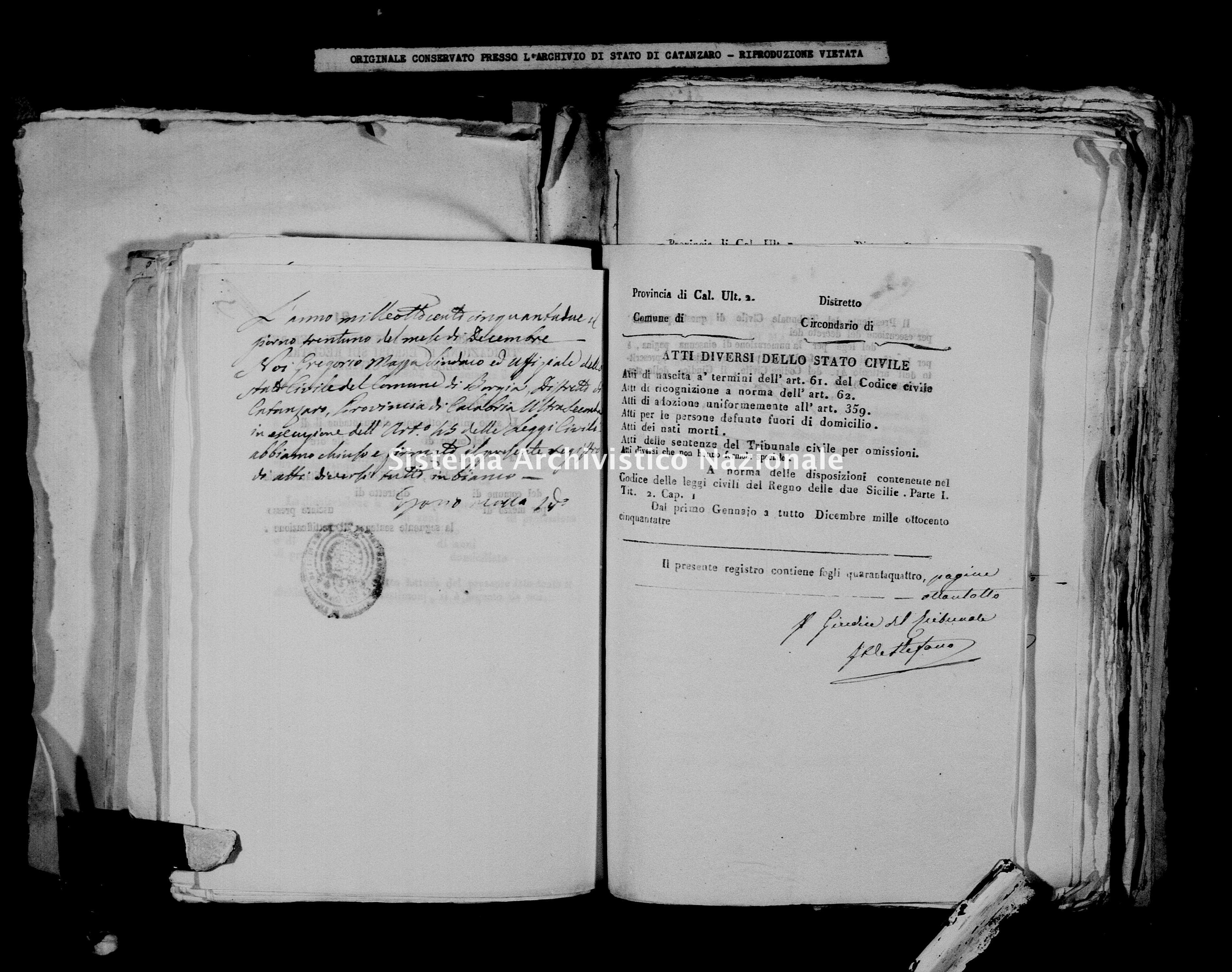 Archivio di stato di Catanzaro - Stato civile della restaurazione - Borgia - Diversi - 1852 -