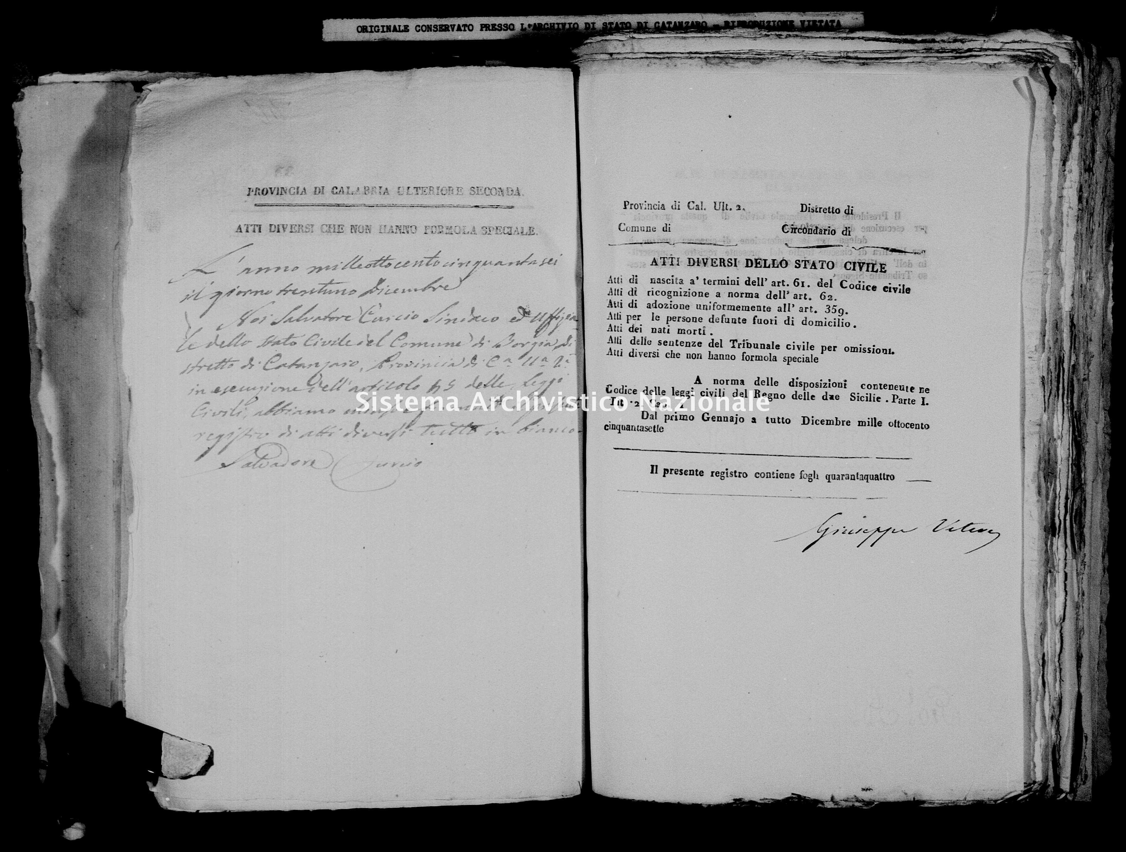 Archivio di stato di Catanzaro - Stato civile della restaurazione - Borgia - Diversi - 1856 -
