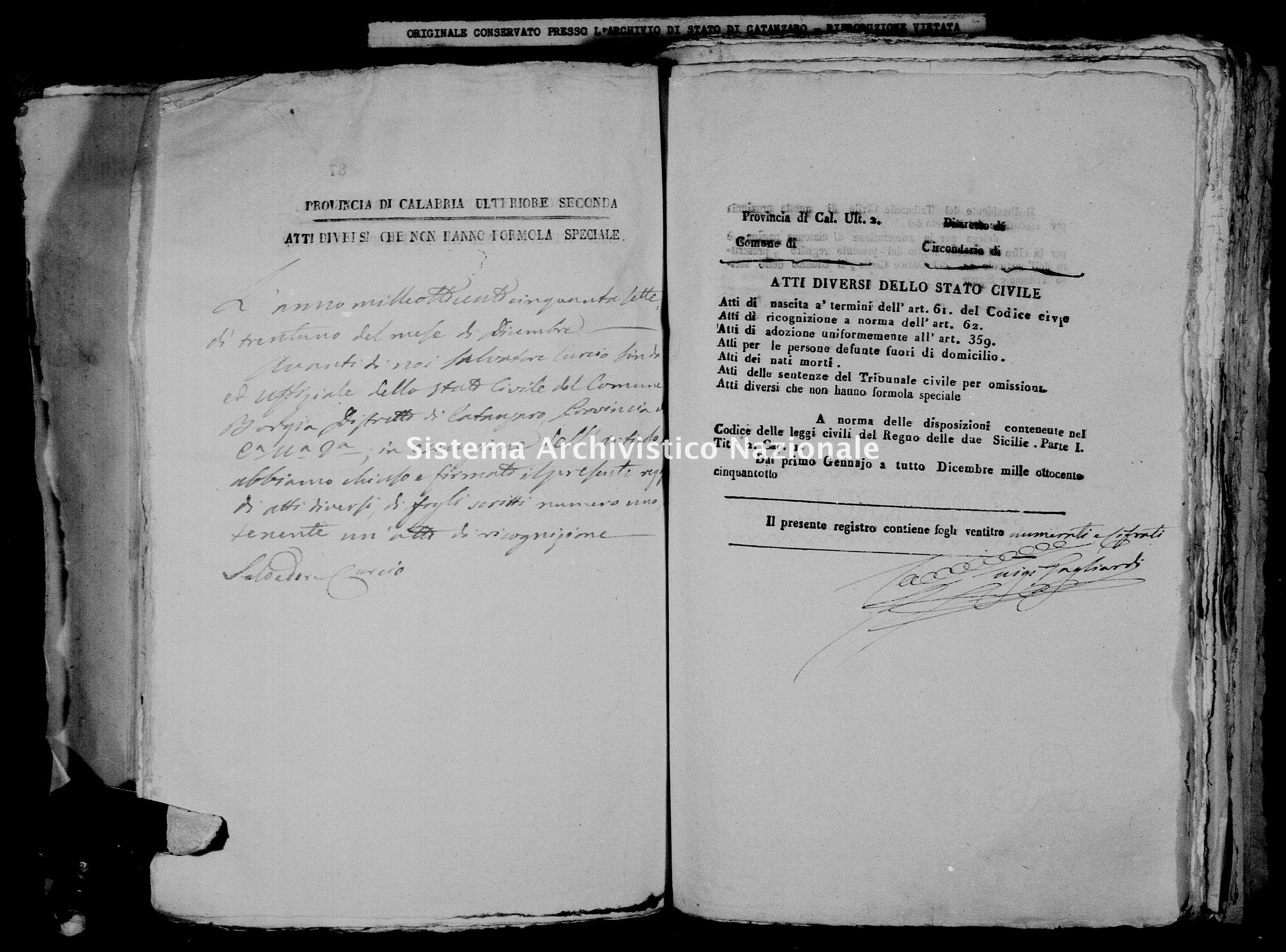 Archivio di stato di Catanzaro - Stato civile della restaurazione - Borgia - Diversi - 1858 -