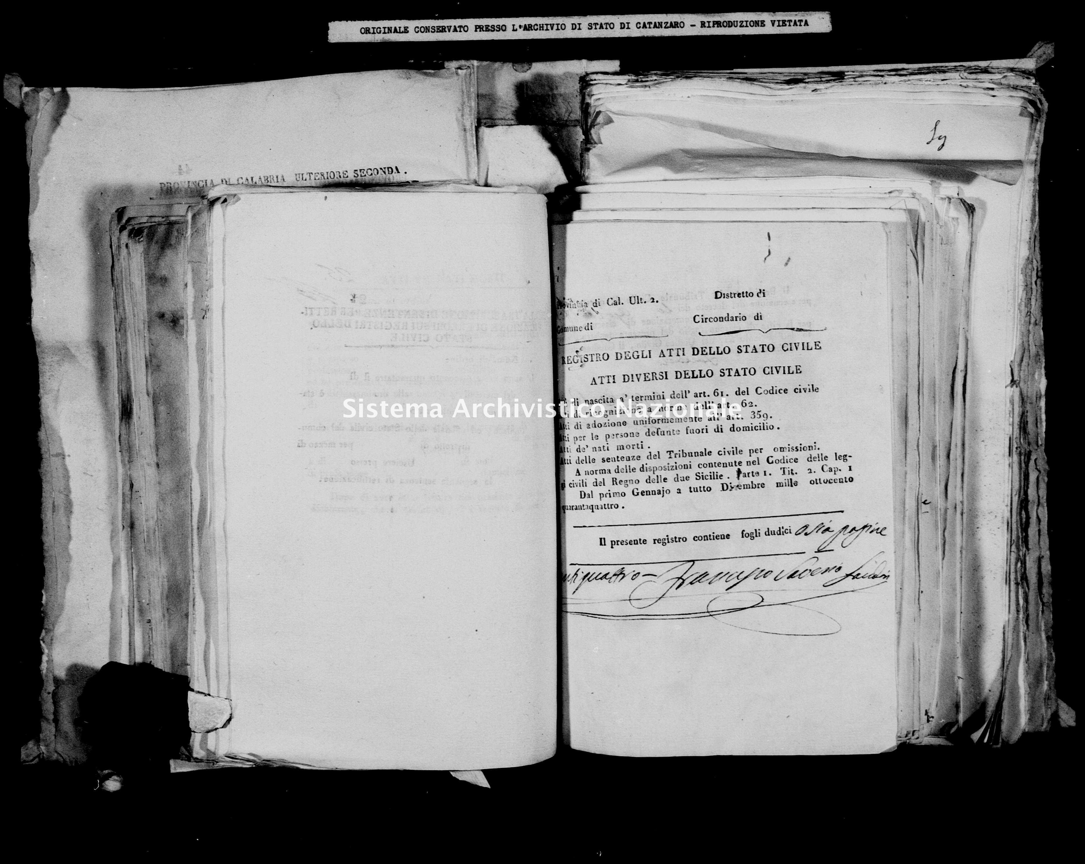 Archivio di stato di Catanzaro - Stato civile della restaurazione - Briatico - Diversi - 1844 -