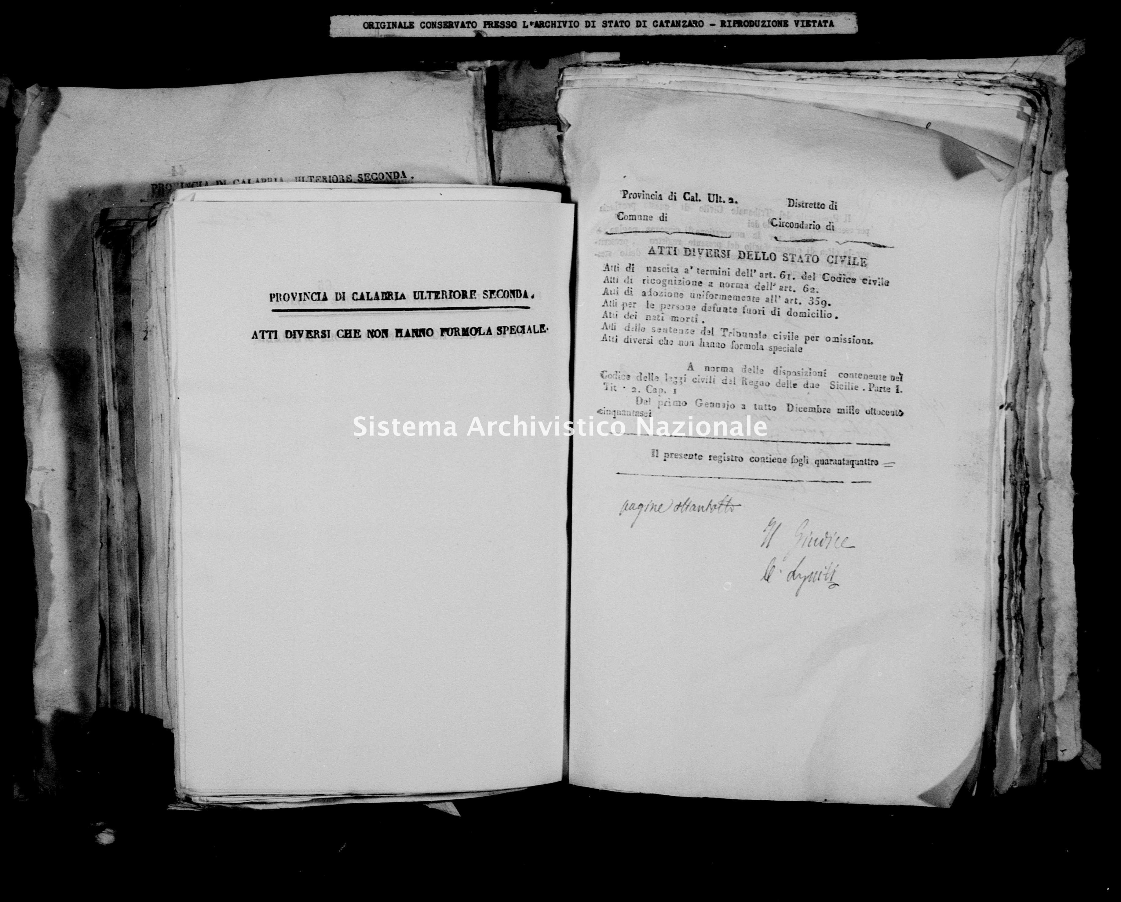 Archivio di stato di Catanzaro - Stato civile della restaurazione - Briatico - Diversi - 1856 -
