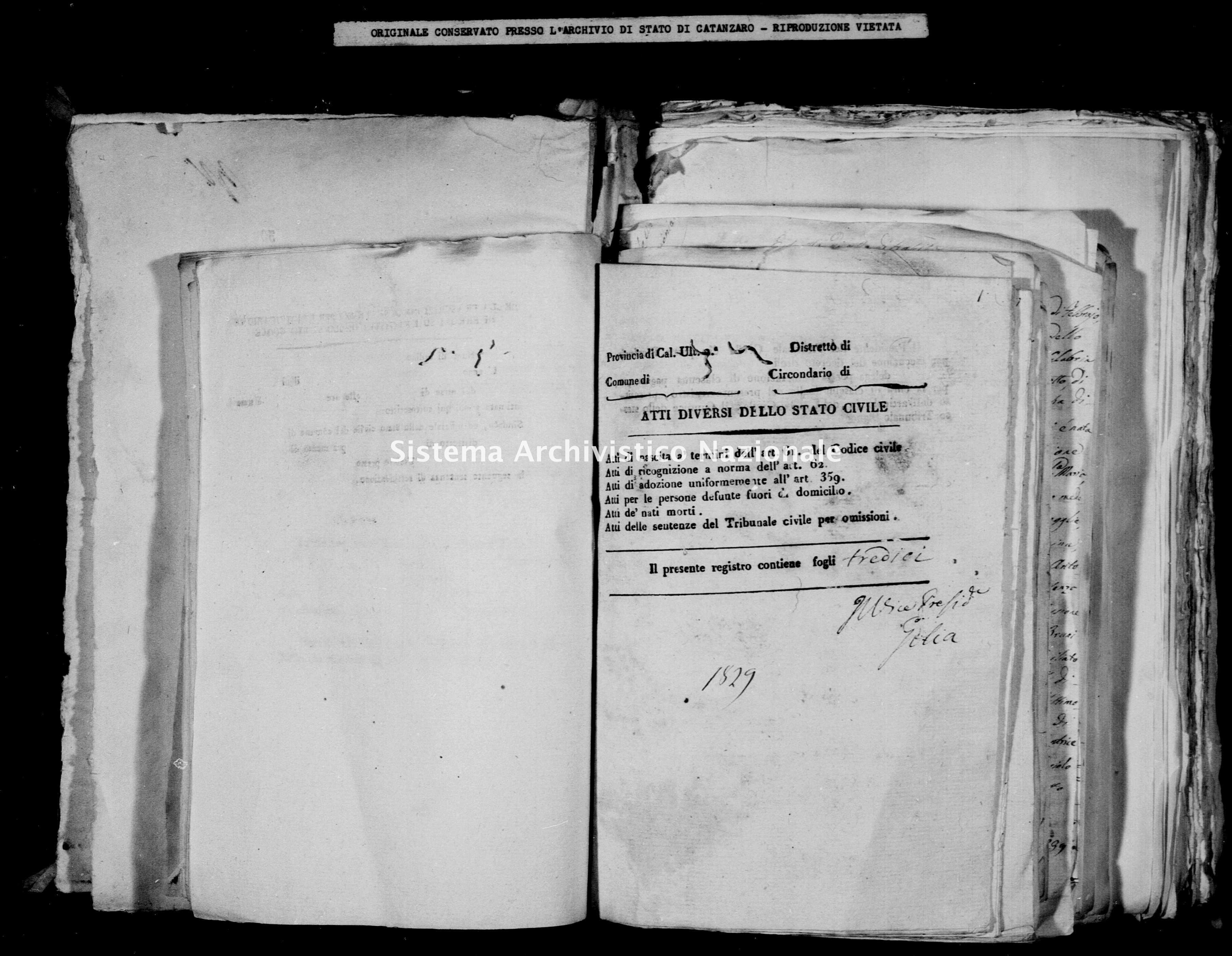 Archivio di stato di Catanzaro - Stato civile della restaurazione - Calabrò - Diversi - 1822 -