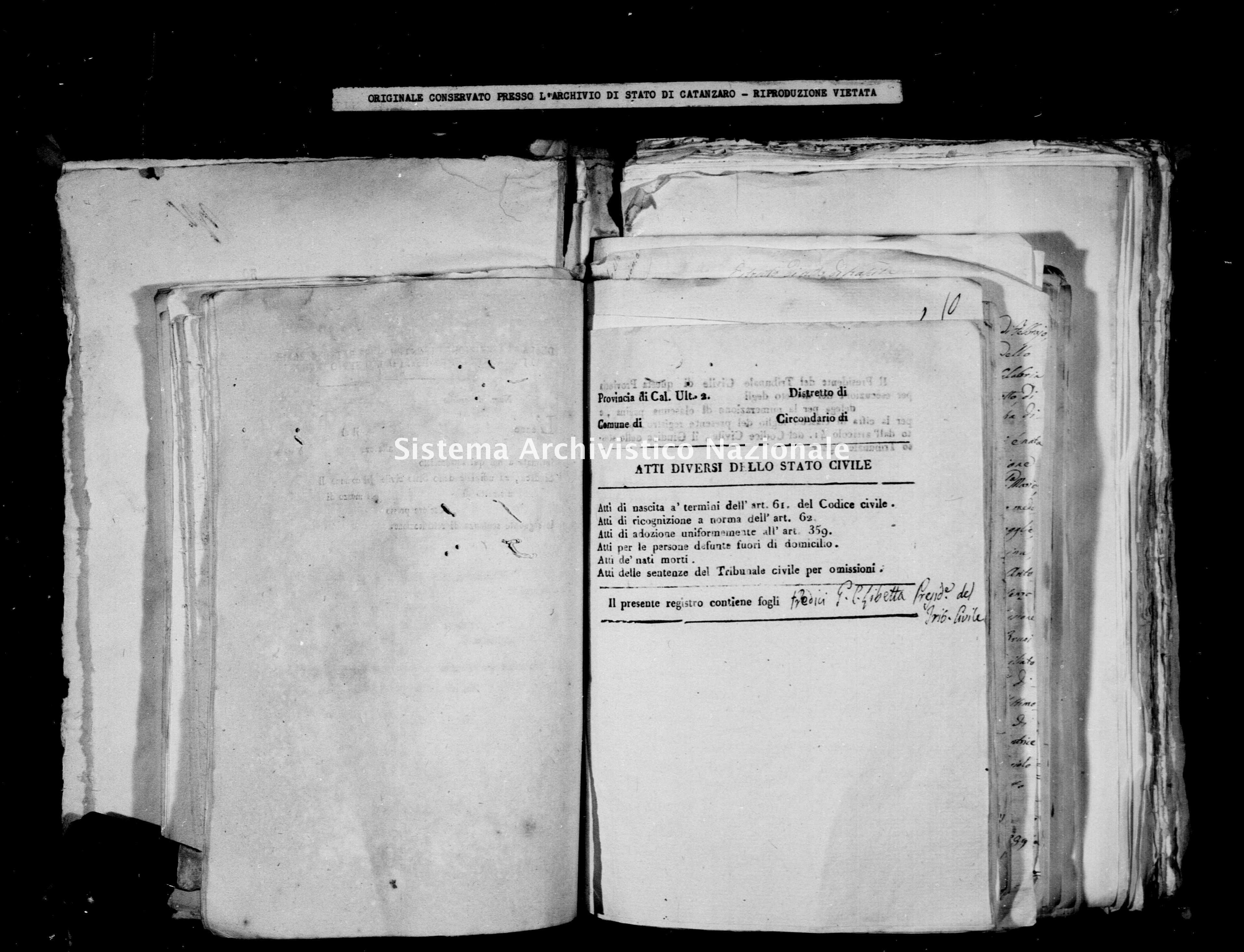 Archivio di stato di Catanzaro - Stato civile della restaurazione - Calabrò - Diversi - 1831 -
