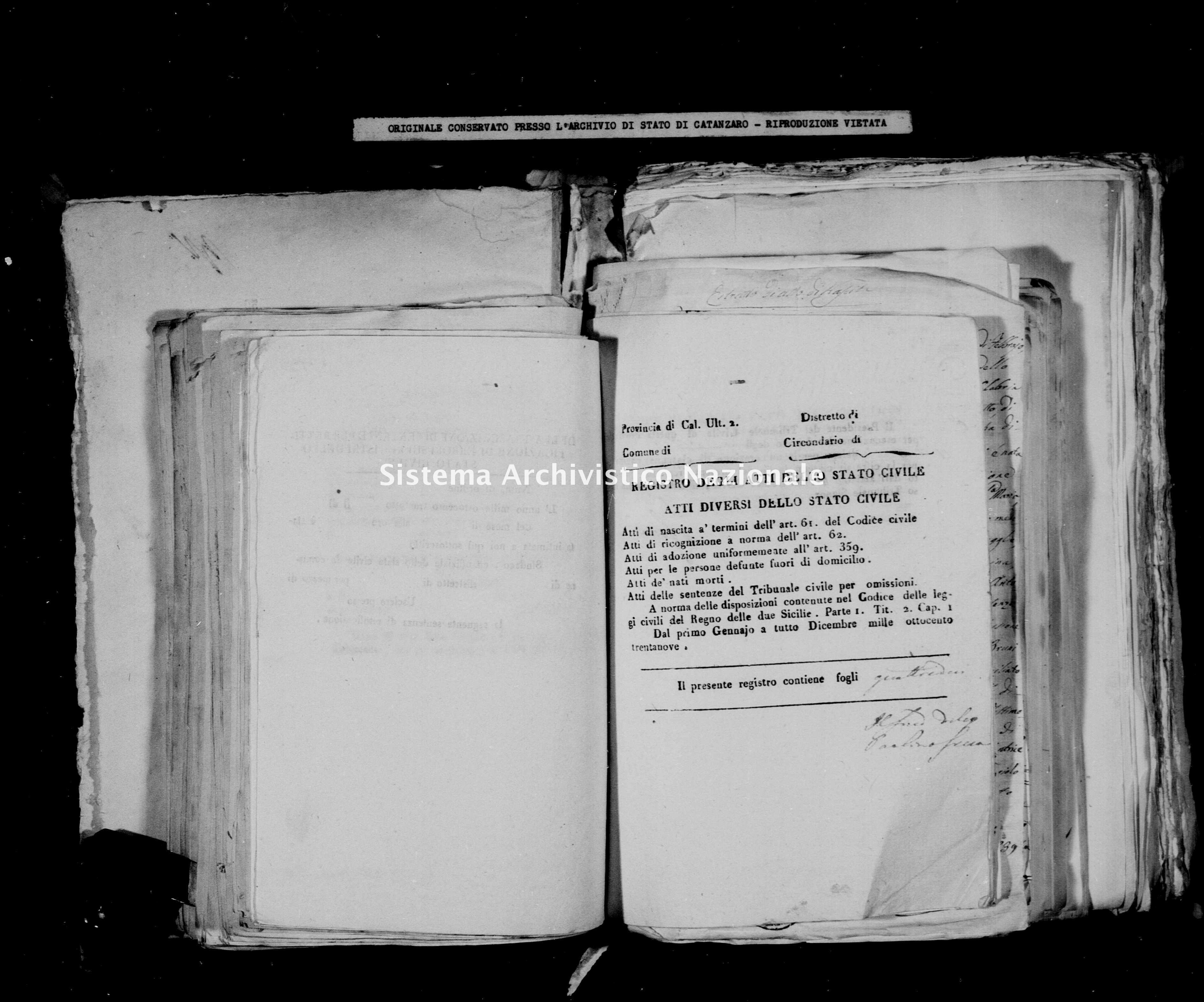 Archivio di stato di Catanzaro - Stato civile della restaurazione - Calabrò - Diversi - 1839 -
