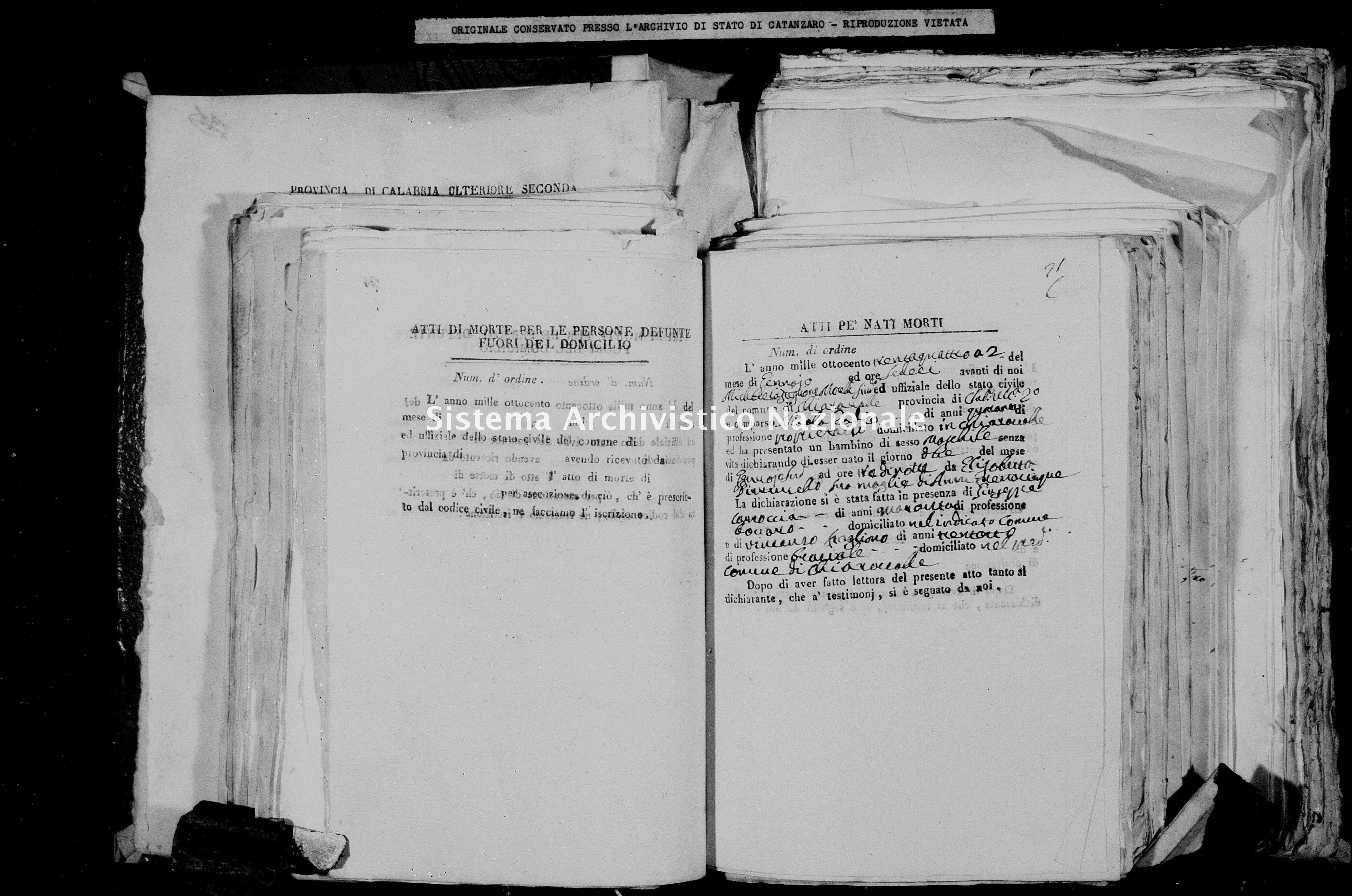 Archivio di stato di Catanzaro - Stato civile della restaurazione - Chiaravalle - Diversi - 1834 -