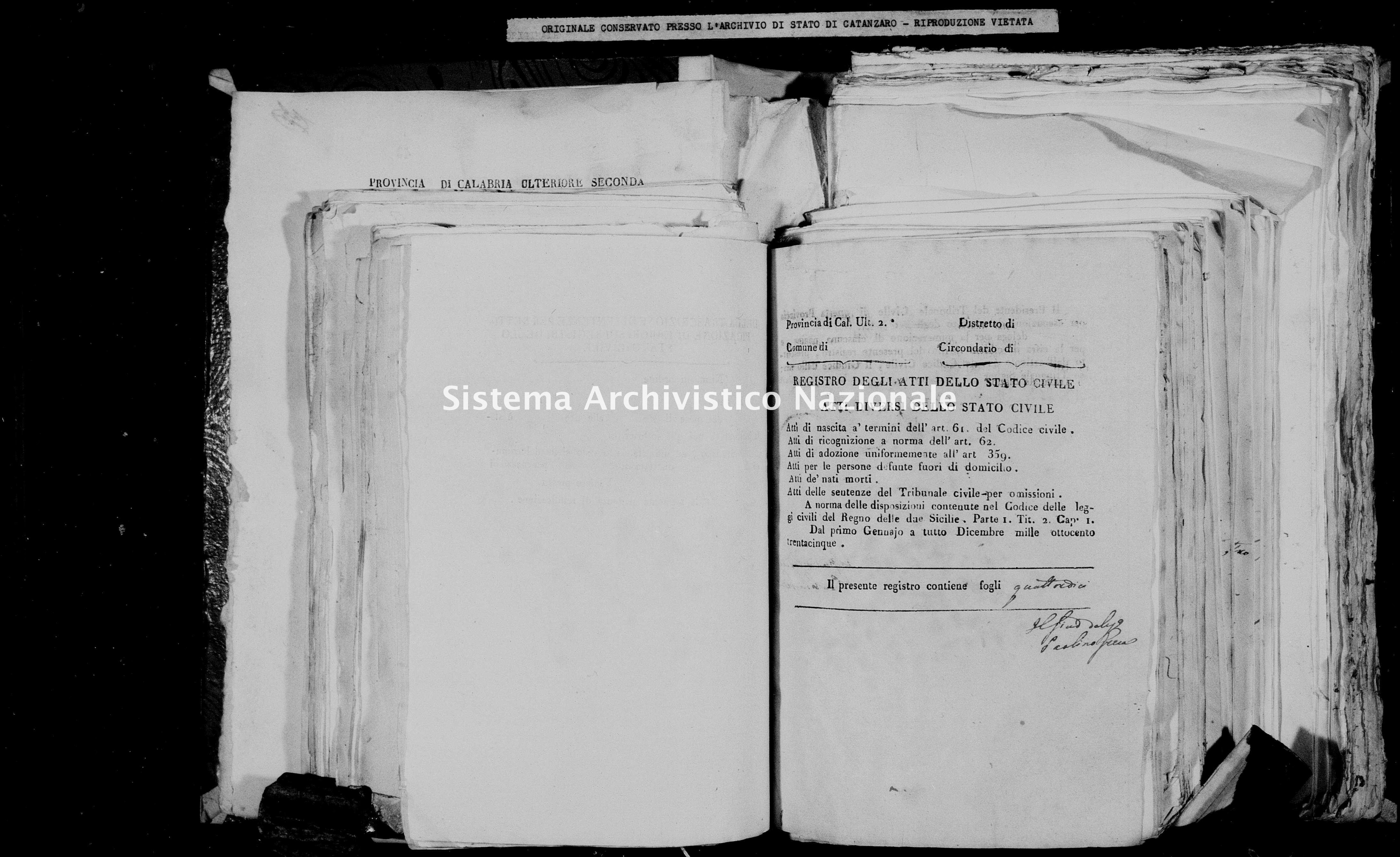 Archivio di stato di Catanzaro - Stato civile della restaurazione - Chiaravalle - Diversi - 1835 -