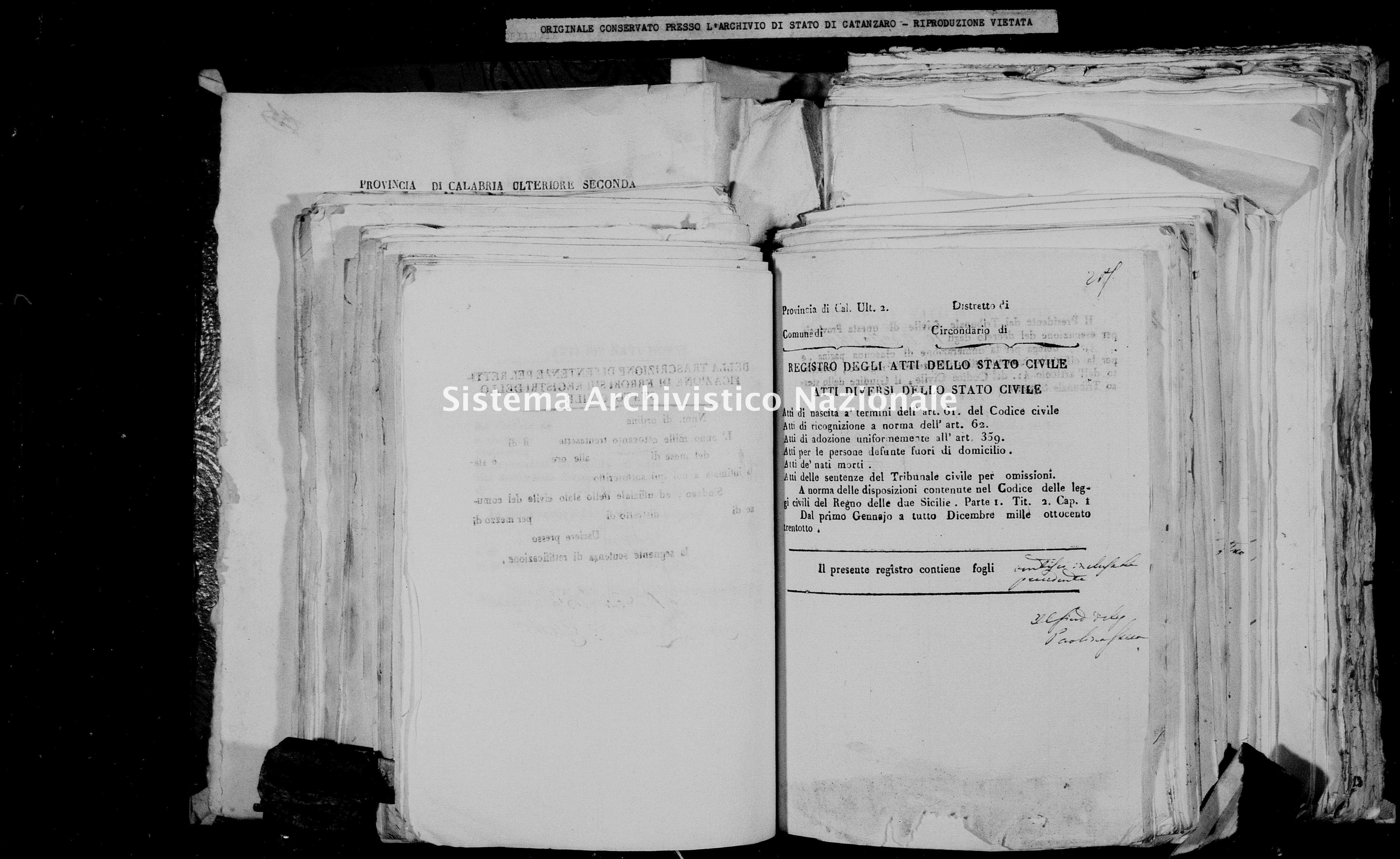 Archivio di stato di Catanzaro - Stato civile della restaurazione - Chiaravalle - Diversi - 1838 -